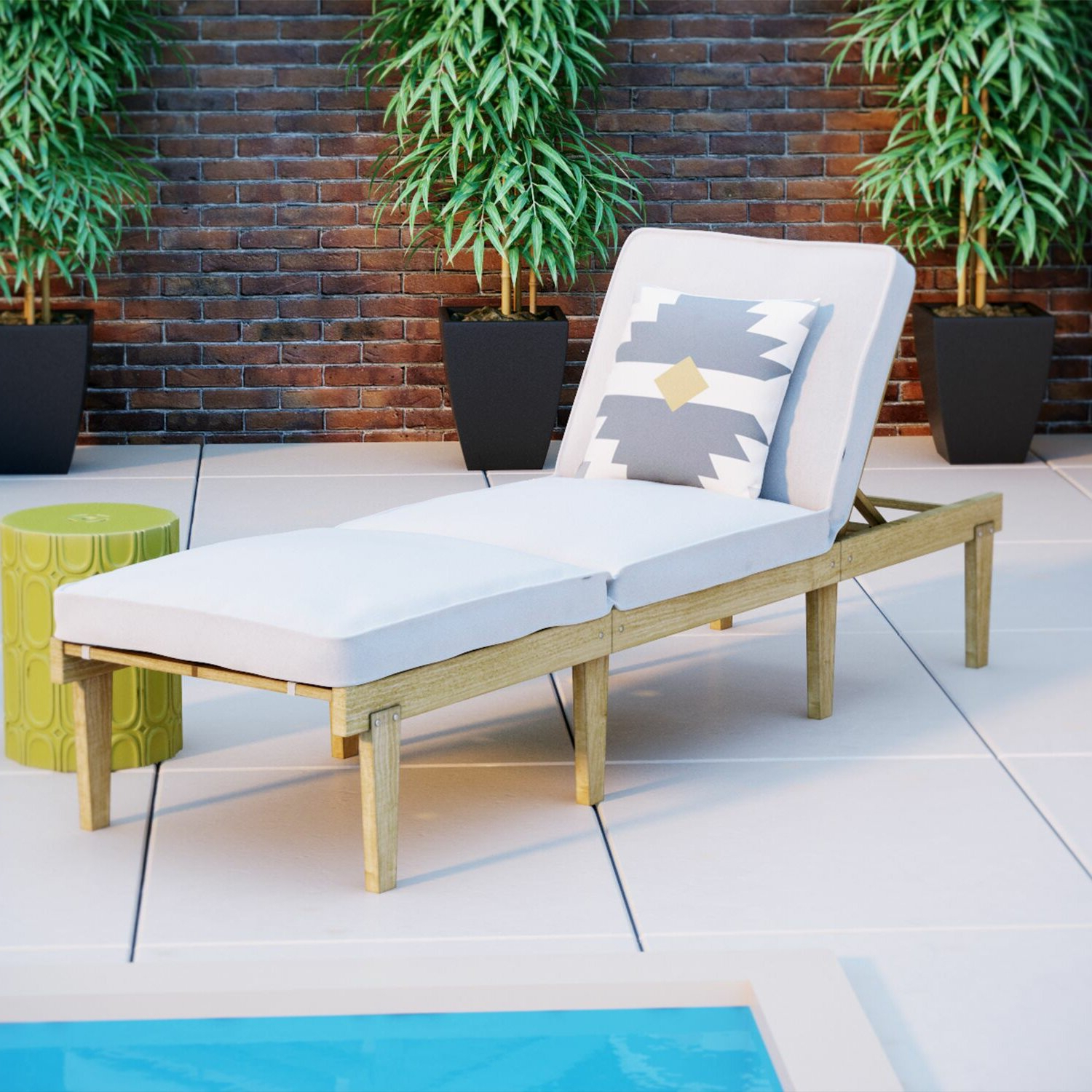 Ardsley Reclining Teak Chaise Lounge With Cushion For Current Oudoor Modern Acacia Wood Chaise Lounges With Cushion (Gallery 13 of 25)