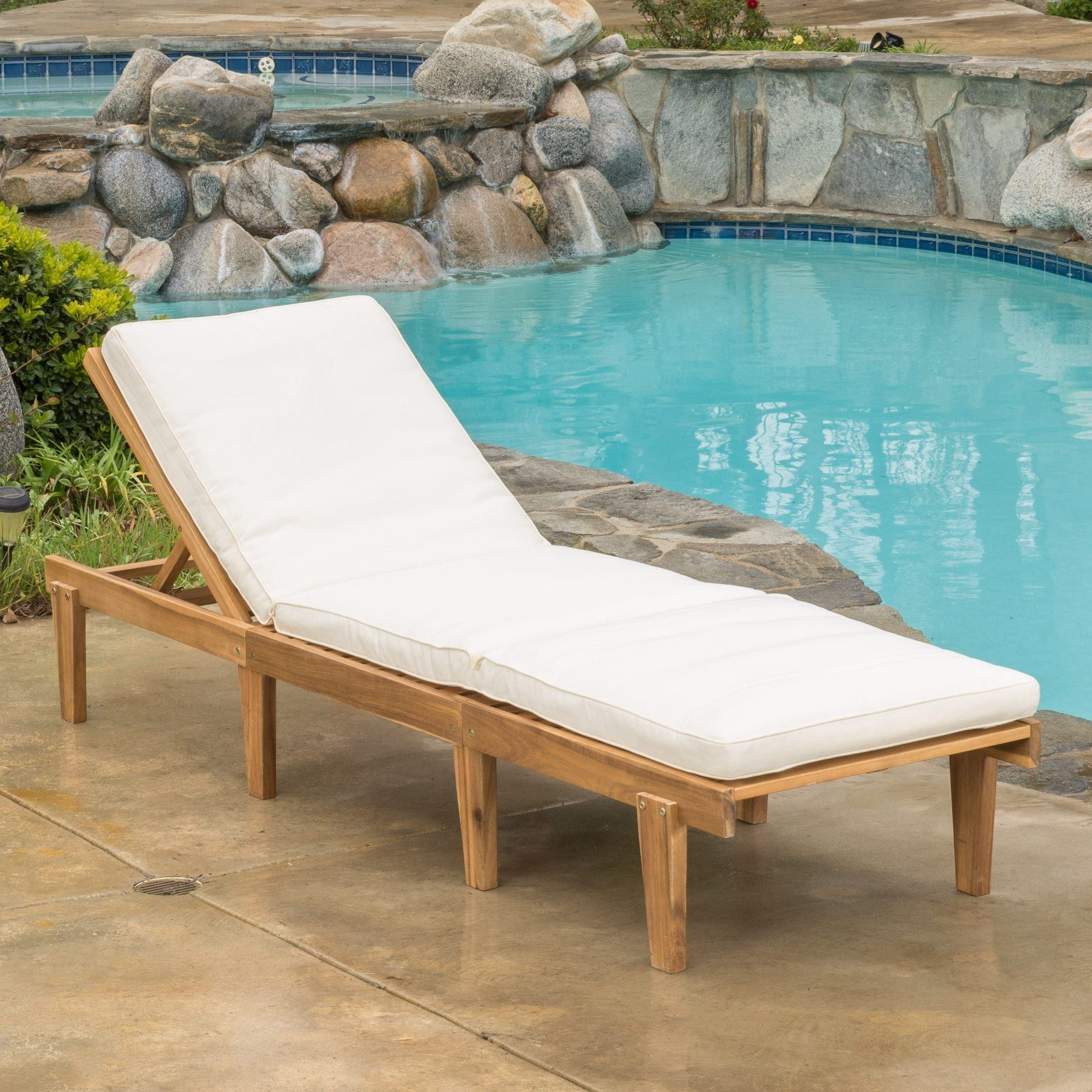 Ariana Acacia Outdoor Wood Chaise Lounge With Cushion Intended For Well Liked Wood Blue And White Cushion Outdoor Chaise Lounge Chairs (View 5 of 25)