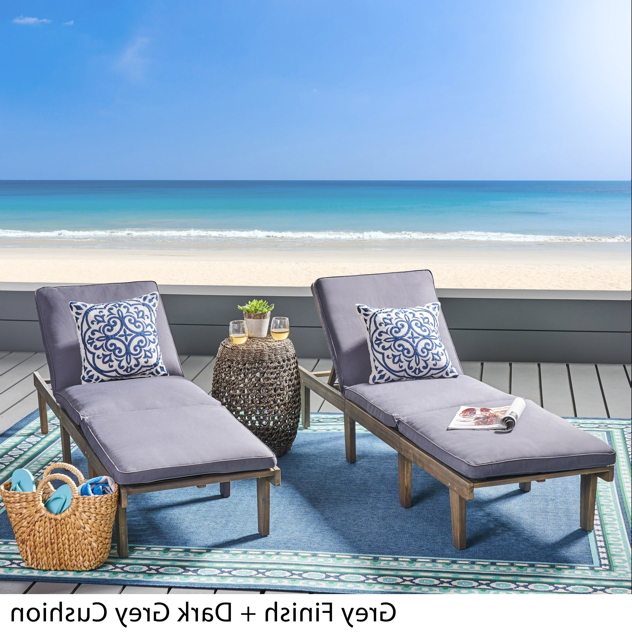 Ariana Outdoor Acacia Wood Chaise Lounge With Cushion (set Of 2) In Current Wood Blue And White Cushion Outdoor Chaise Lounge Chairs (View 3 of 25)