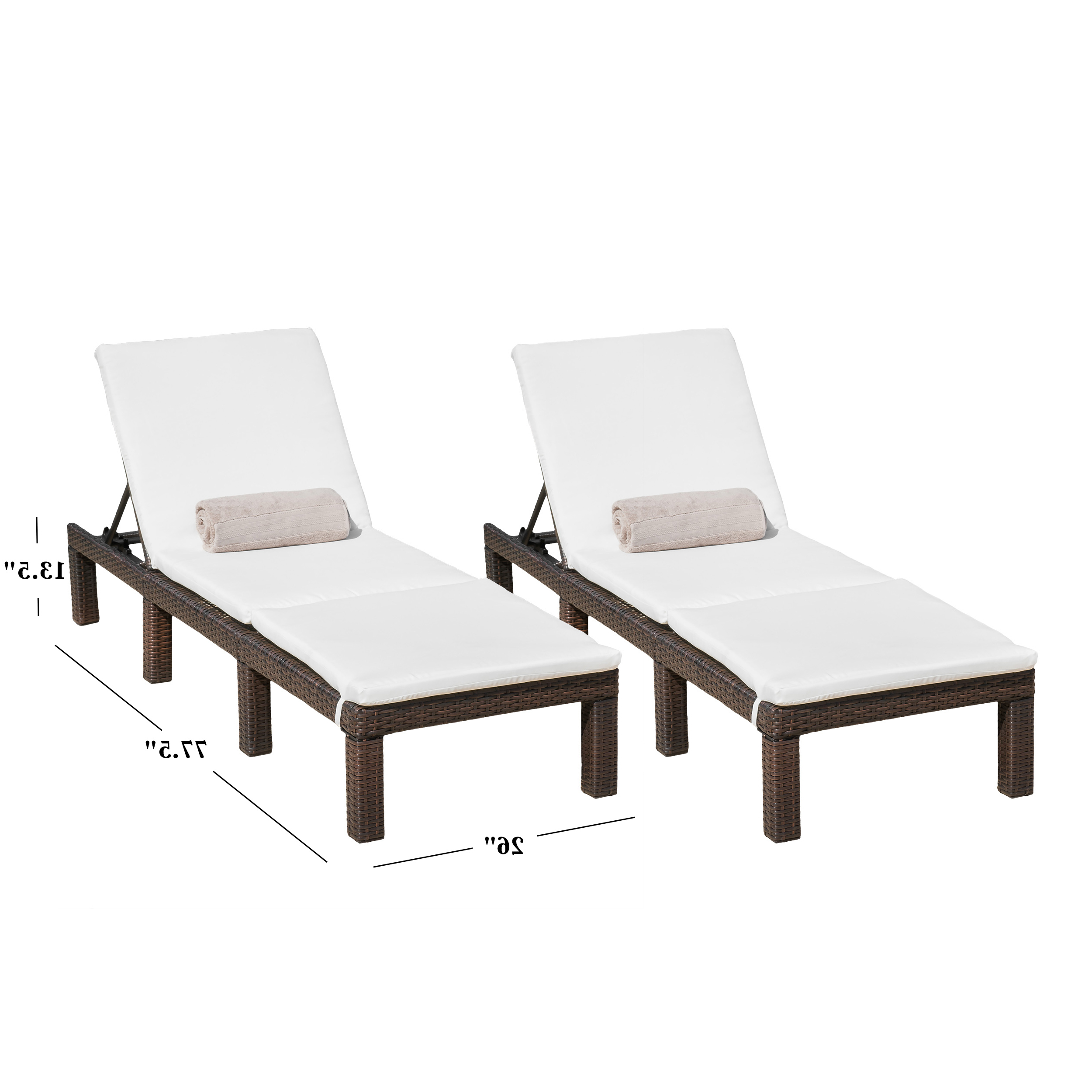 Aspen Outdoor Wicker Adjustable Chaise Lounges With Cushions (set Of 2) With Regard To Well Known White Wicker Adjustable Chaise Loungers With Cushions (View 17 of 25)