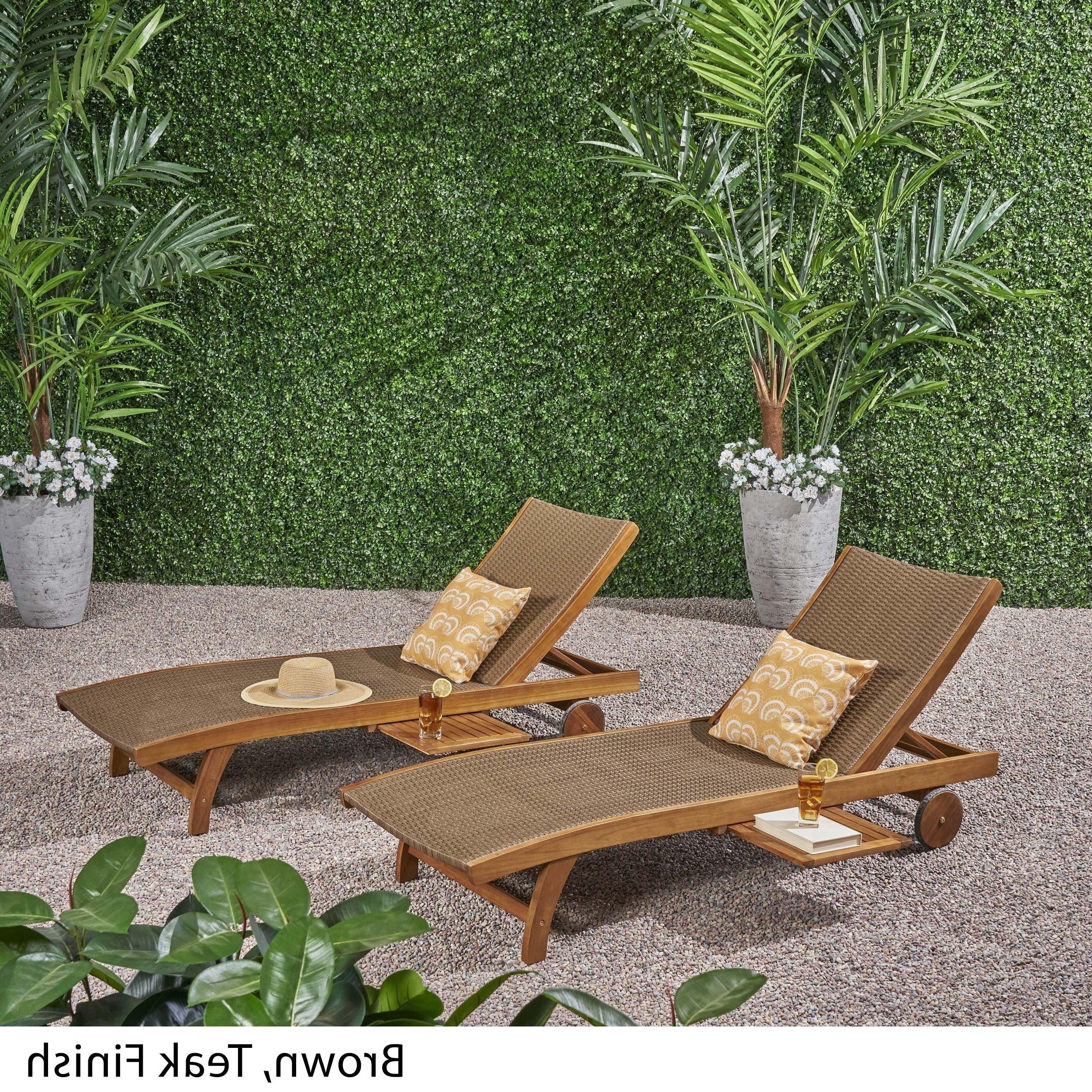 Banzai Outdoor Wicker And Wood Chaise Lounge With Pull Out Tray(Set Of 2) Christopher Knight Home For Fashionable Outdoor Rustic Acacia Wood Chaise Lounges With Wicker Seat (View 14 of 25)