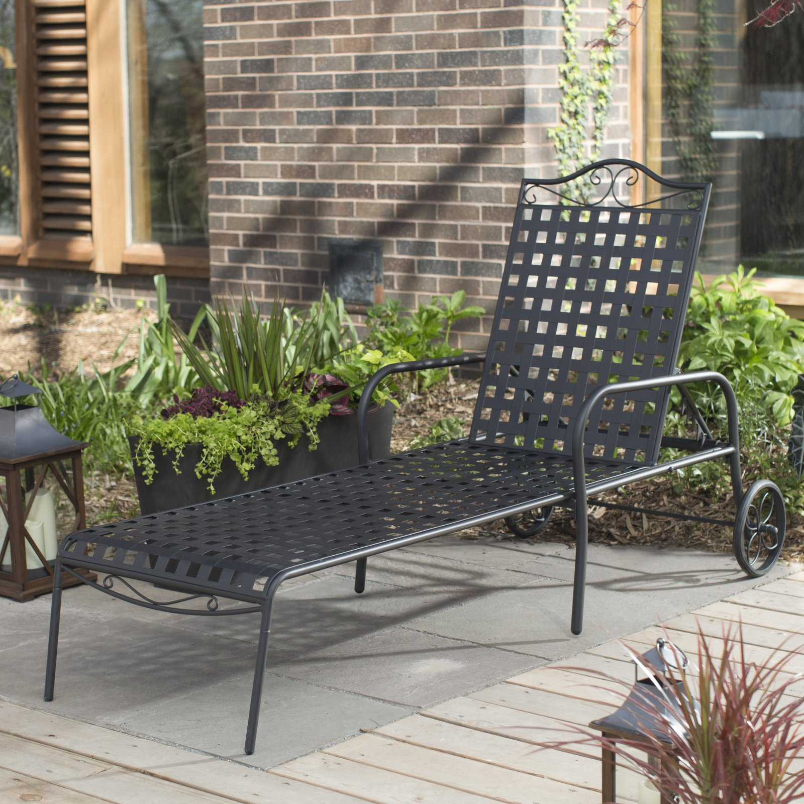 Belham Living Capri Wrought Iron Multi Position Single Outdoor Chaise Lounge Within Most Recent Multi Position Iron Chaise Lounges (Gallery 3 of 25)