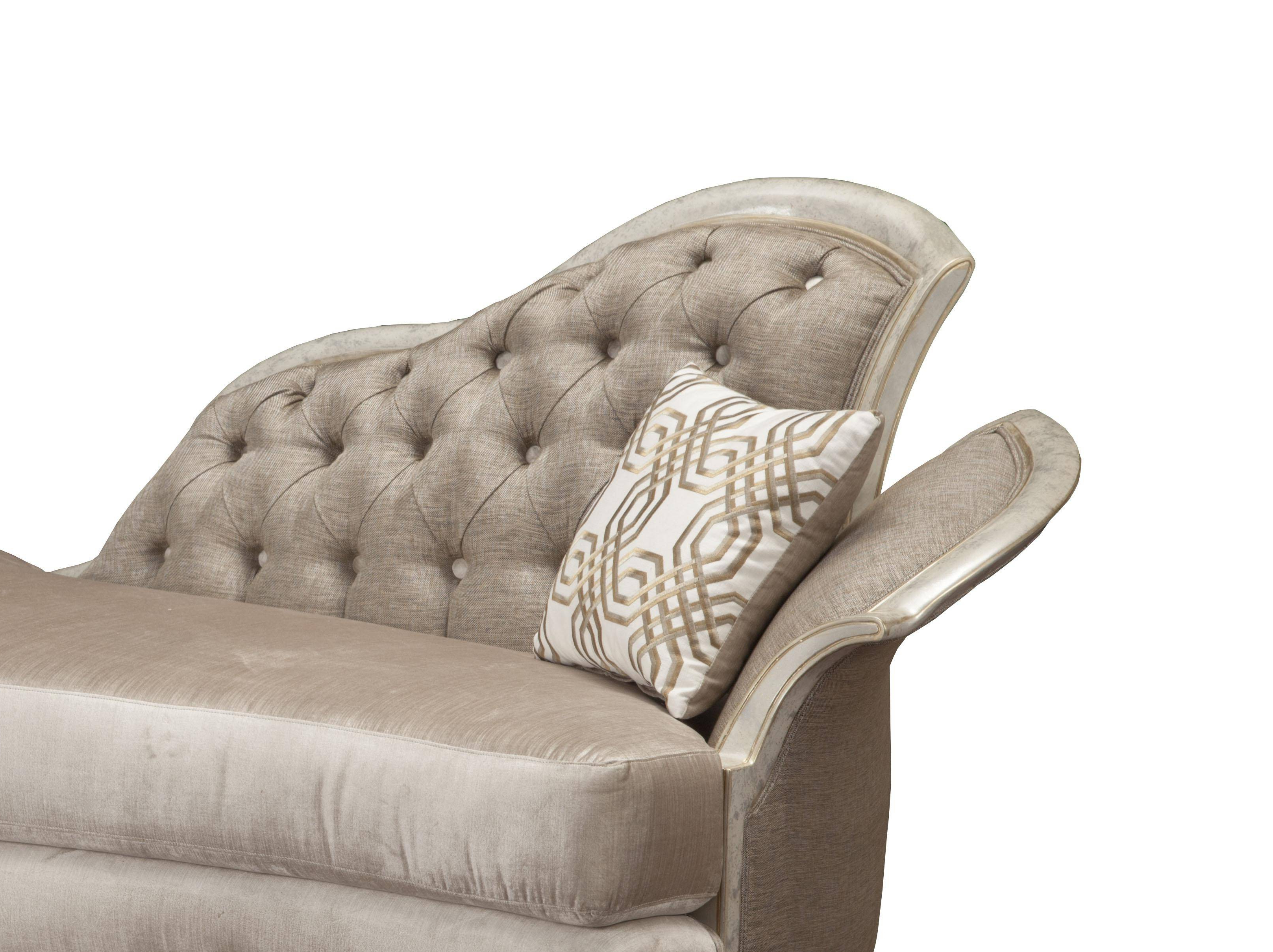 Benetti's Perlita Luxury Beige Pearl Silk Chenille Silver Gold Chaise Lounge Pertaining To Most Up To Date Pearl Chaise Lounges (View 16 of 25)