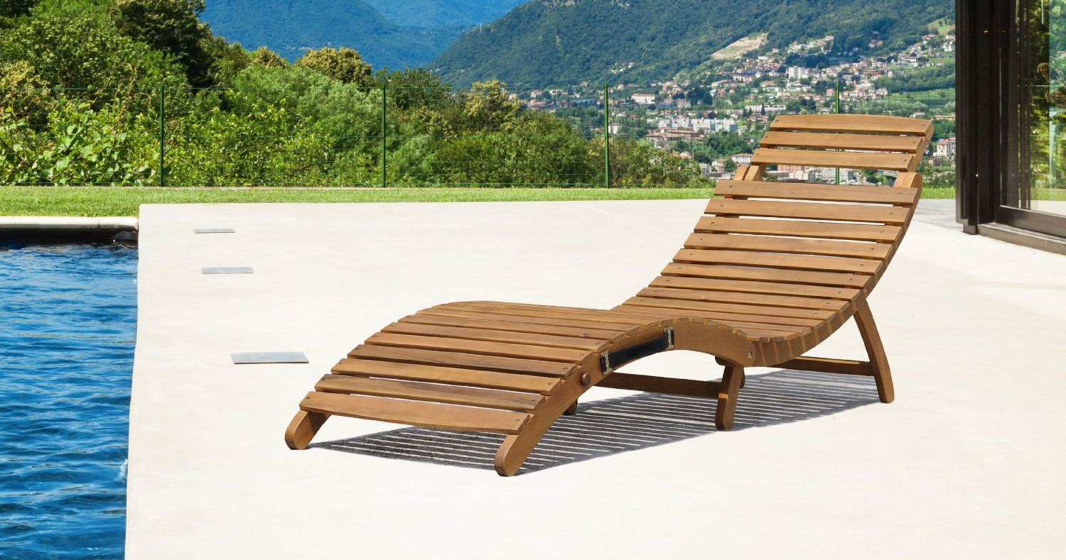 Bentley Garden Large Folding Curved Reclining Wooden Sun Regarding Most Popular Curved Folding Chaise Loungers (View 3 of 25)