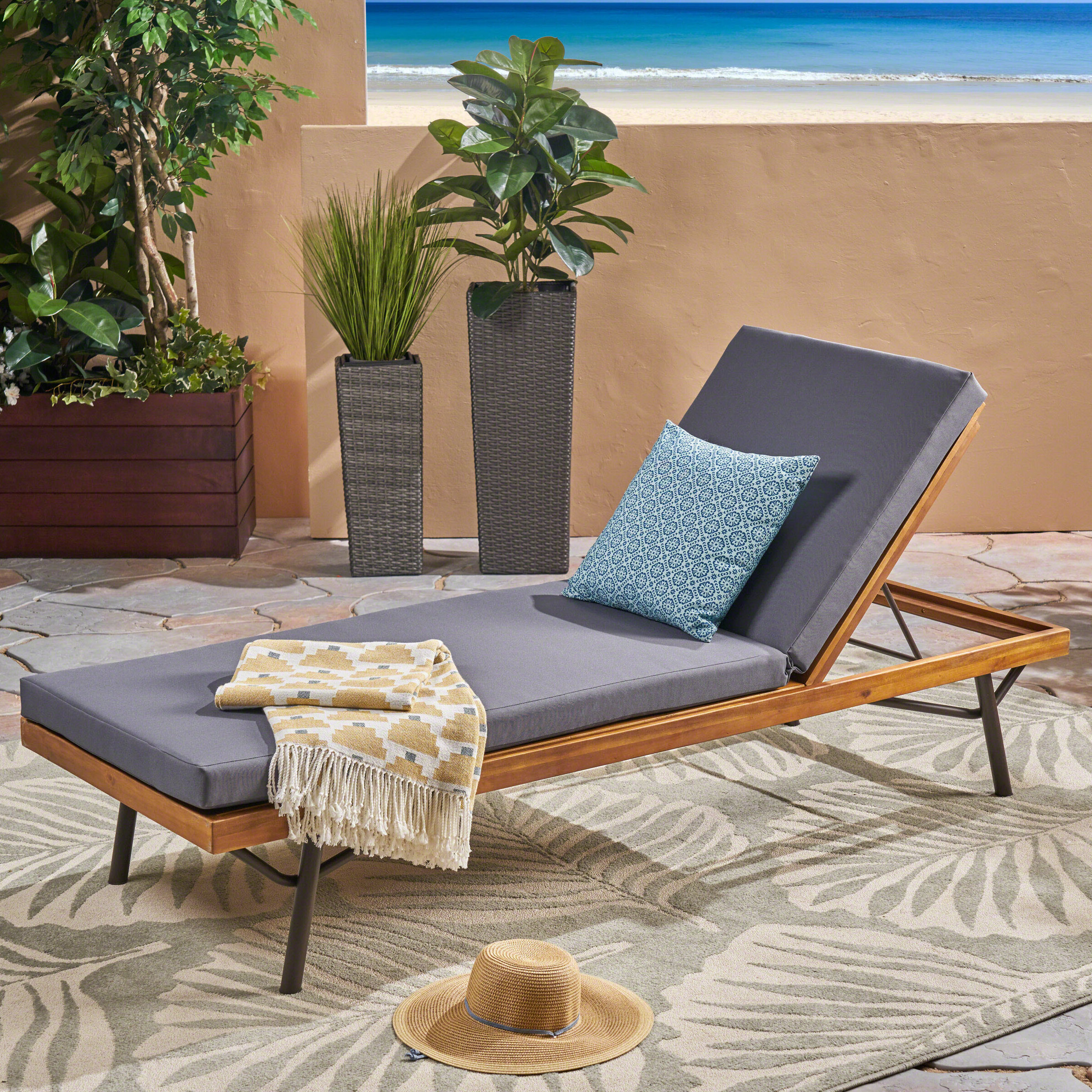 Berghauser Reclining Chaise Lounge With Cushion With Regard To Popular Eucalyptus Teak Finish Outdoor Chaise Loungers With Cushion (Gallery 21 of 25)