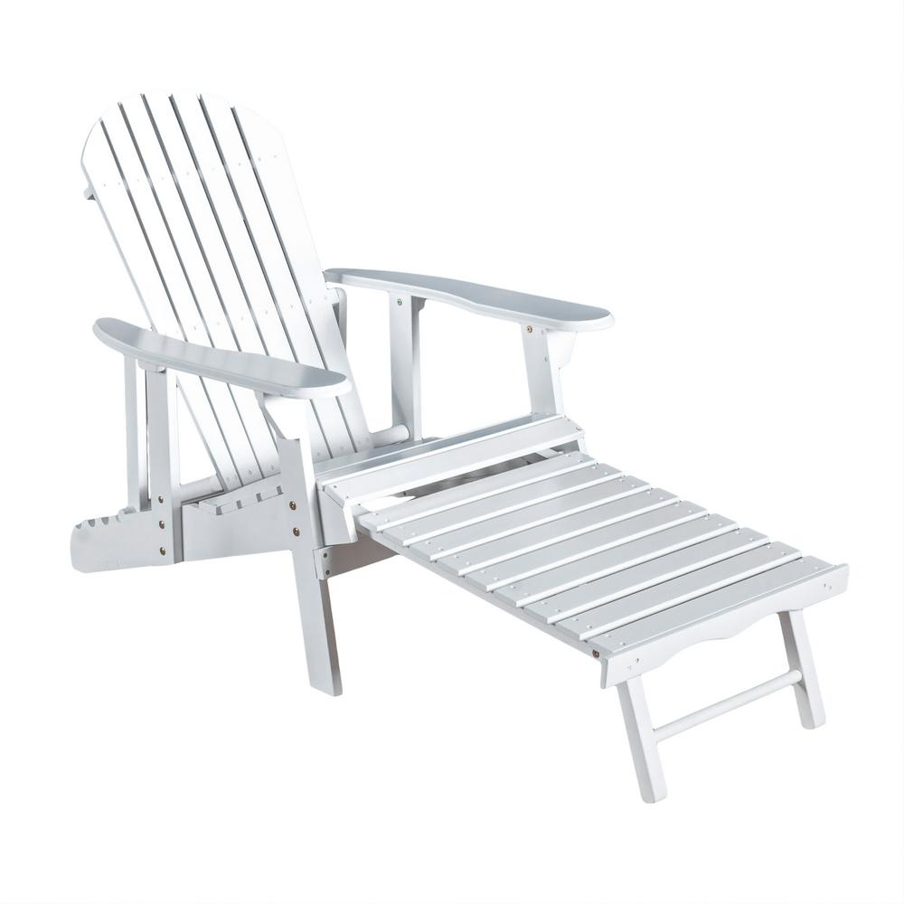 Best And Newest Adirondack Chairs With Footrest In Noble House Hayle White Reclining Wood Adirondack Chair (View 11 of 25)