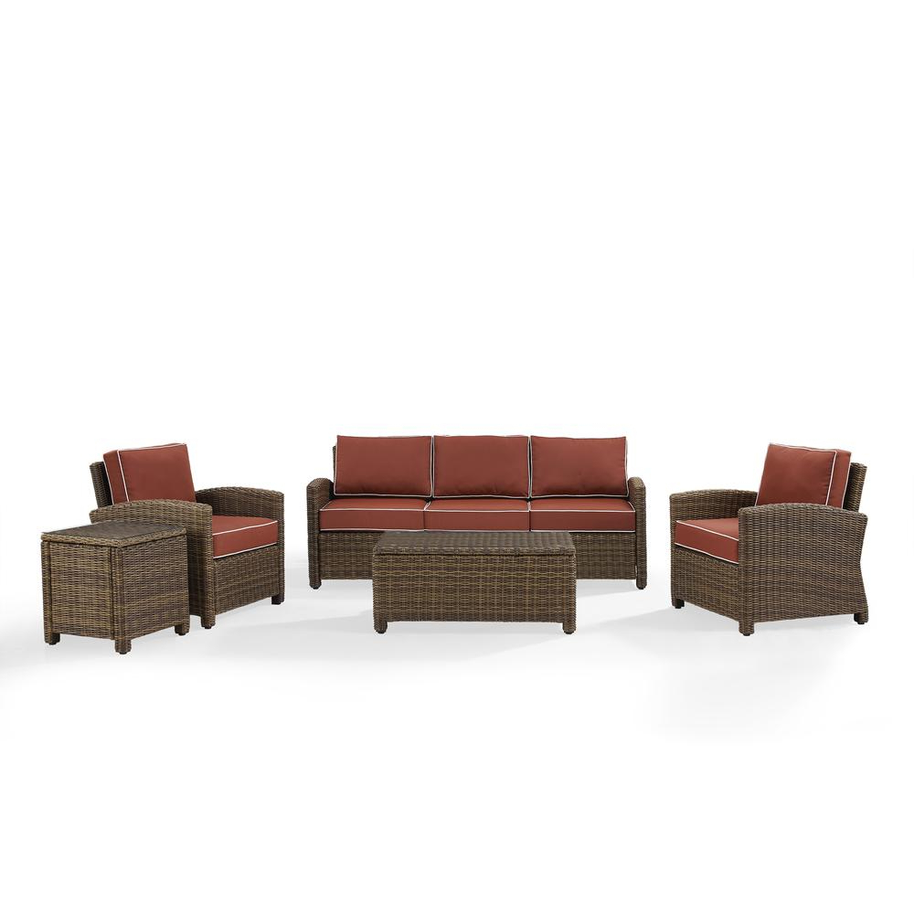Best And Newest Bradenton Outdoor Wicker Chaise Lounges With Cushions Within Bradenton 5 Piece Outdoor Wicker Sofa Conversation Set With Sangria Cushions – Sofa, Two Arm Chairs, Side Table & Glass Top Tablecrosley Furniture (View 23 of 25)