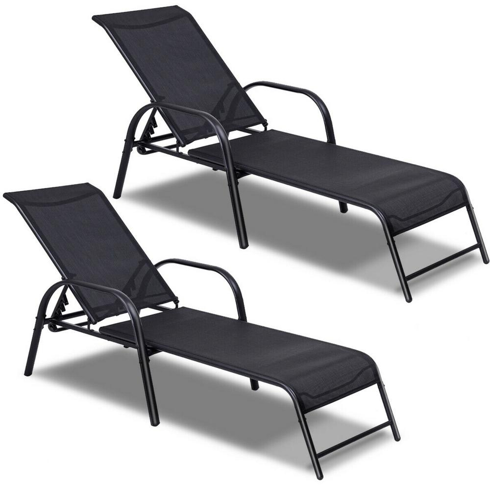 Best And Newest Costway Black 2 Pieces Of Metal Steel Back Adjustable Outdoor Chaise Lounge  Patio Lounge Chairs Sling Recliner Within Black Sling Fabric Adjustable Chaise Lounges (View 2 of 25)