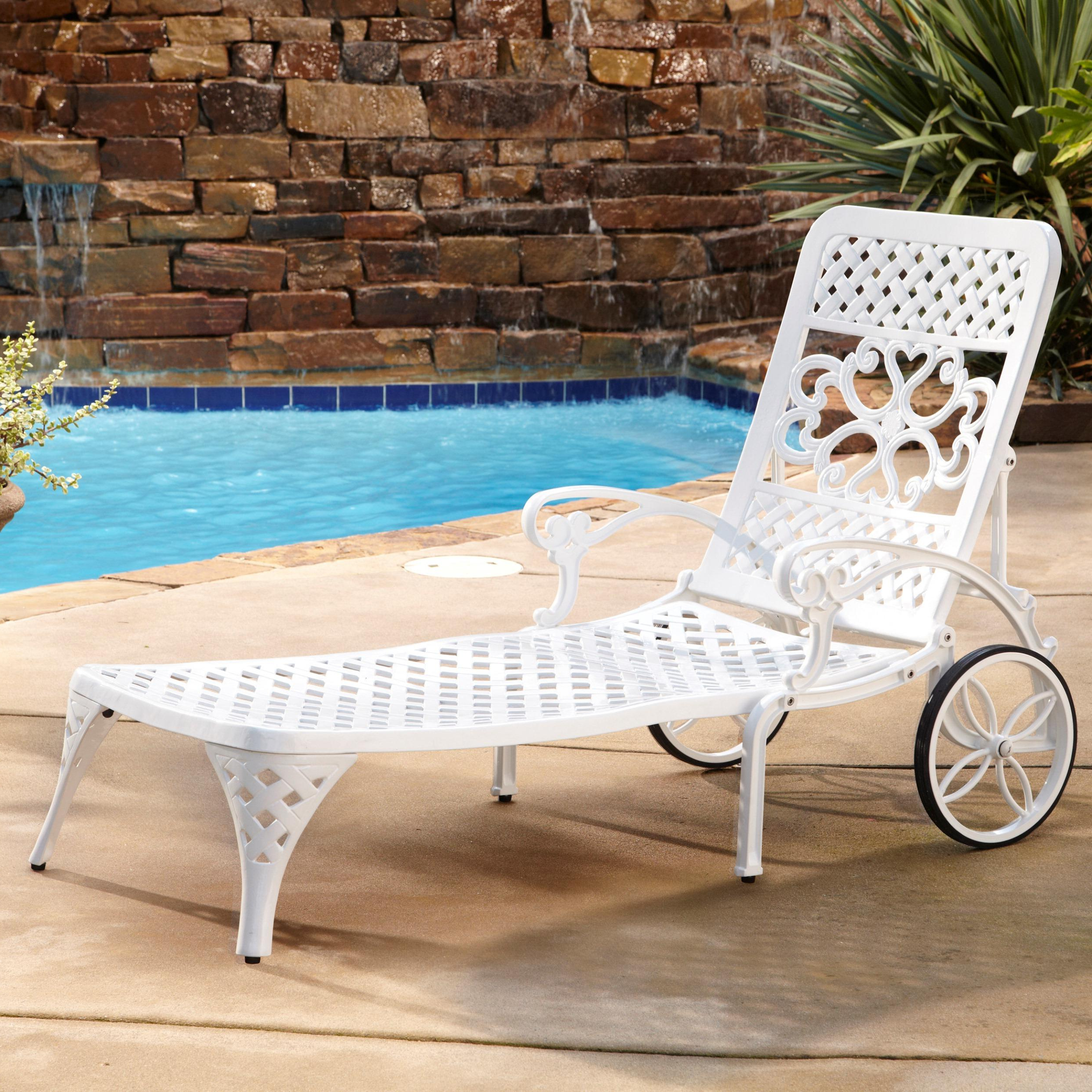 Best And Newest Floral Blossom Chaise Lounge Chairs With Cushion Within Home Styles Biscayne Chaise Lounge Chair, White (View 4 of 25)