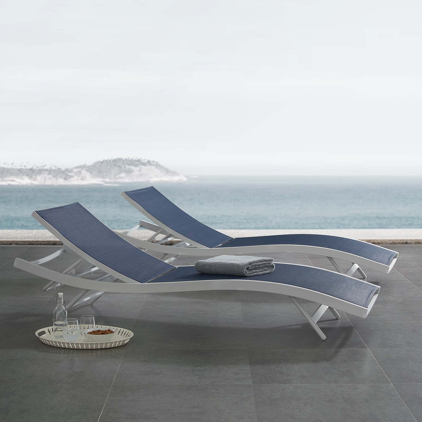 Best And Newest Glimpse Outdoor Patio Mesh Chaise Lounge Chairs Regarding Glimpse Outdoor Patio Mesh Chaise Lounge Chair In White Navy (View 2 of 25)