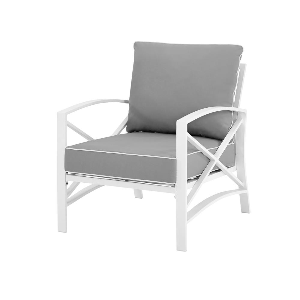 Best And Newest Lounge Chairs In White With Grey Cushions Regarding Crosley Kaplan White Metal Outdoor Lounge Chair With Grey Cushions (Gallery 1 of 25)