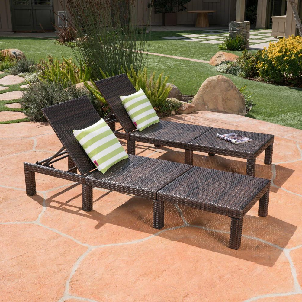 Best And Newest Noble House Jamaica Multi Brown Wicker Adjustable Outdoor Chaise Lounge  (2 Pack) Pertaining To Jamaica Outdoor Chaise Lounges (View 4 of 25)