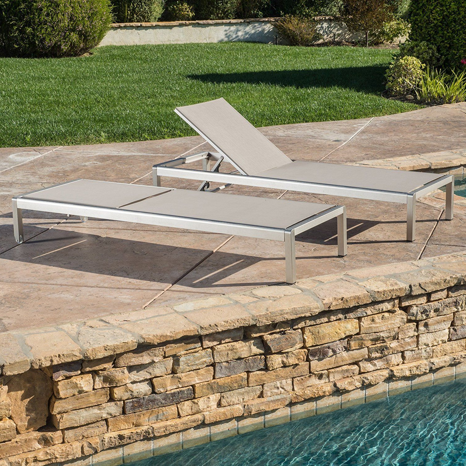 Best And Newest Outdoor #aluminum #chaise #lounge #setof2 #patio #pool #side For Cape Coral Outdoor Aluminum Chaise Lounges (View 12 of 25)