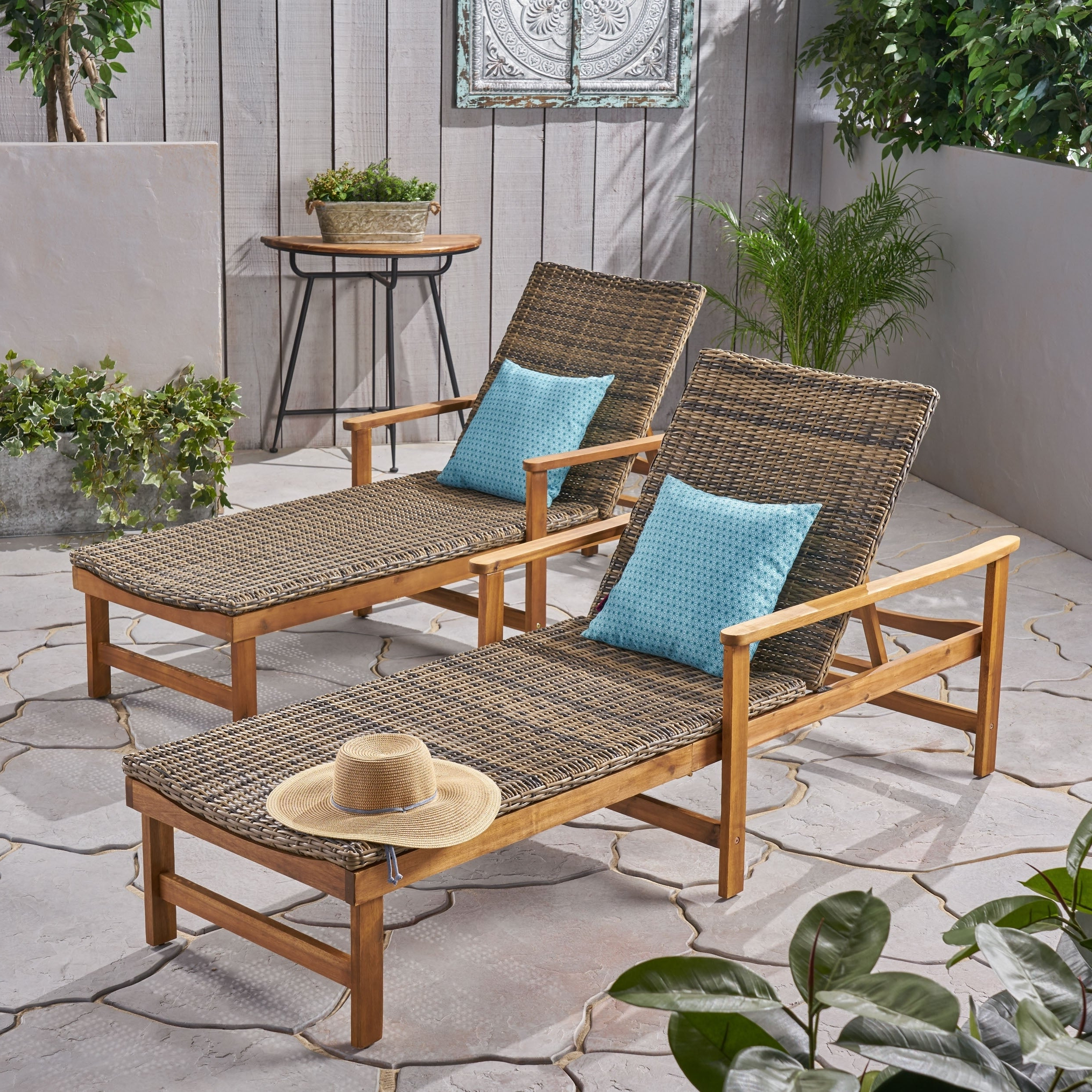 Best And Newest Outdoor Living Manteca Ash Grey Acacia Wood Lounge Chairs Throughout Hampton Outdoor Chaise Lounges Acacia Wood And Wicker (Set Of 2) Christopher Knight Home (View 2 of 25)
