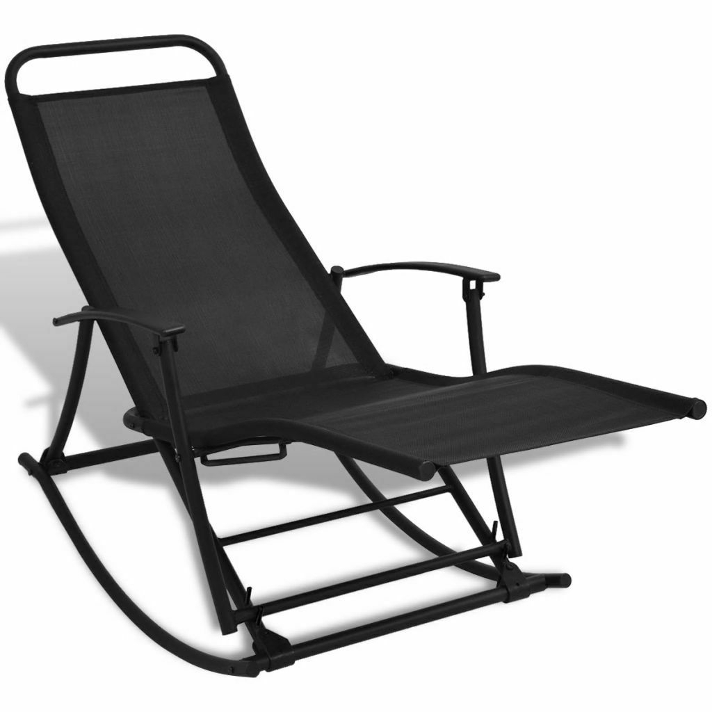 Best And Newest Outdoor Rocking Loungers Within Details About Patio Reclining Sun Lounger Folding Garden Rocking Chair  Outdoor Porch (View 3 of 25)