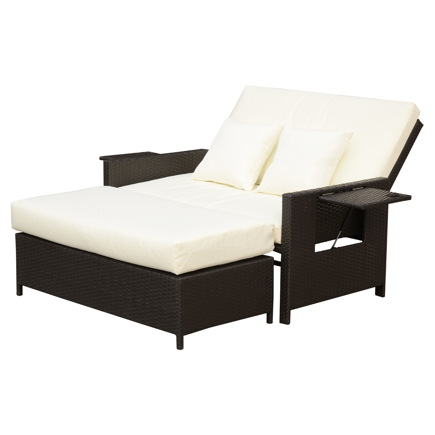 Best And Newest Outsunny 2 Piece Outdoor Rattan Wicker Chaise Lounge And Ottoman Set  Cushioned Intended For All Weather Rattan Wicker Chaise Lounges (View 11 of 25)