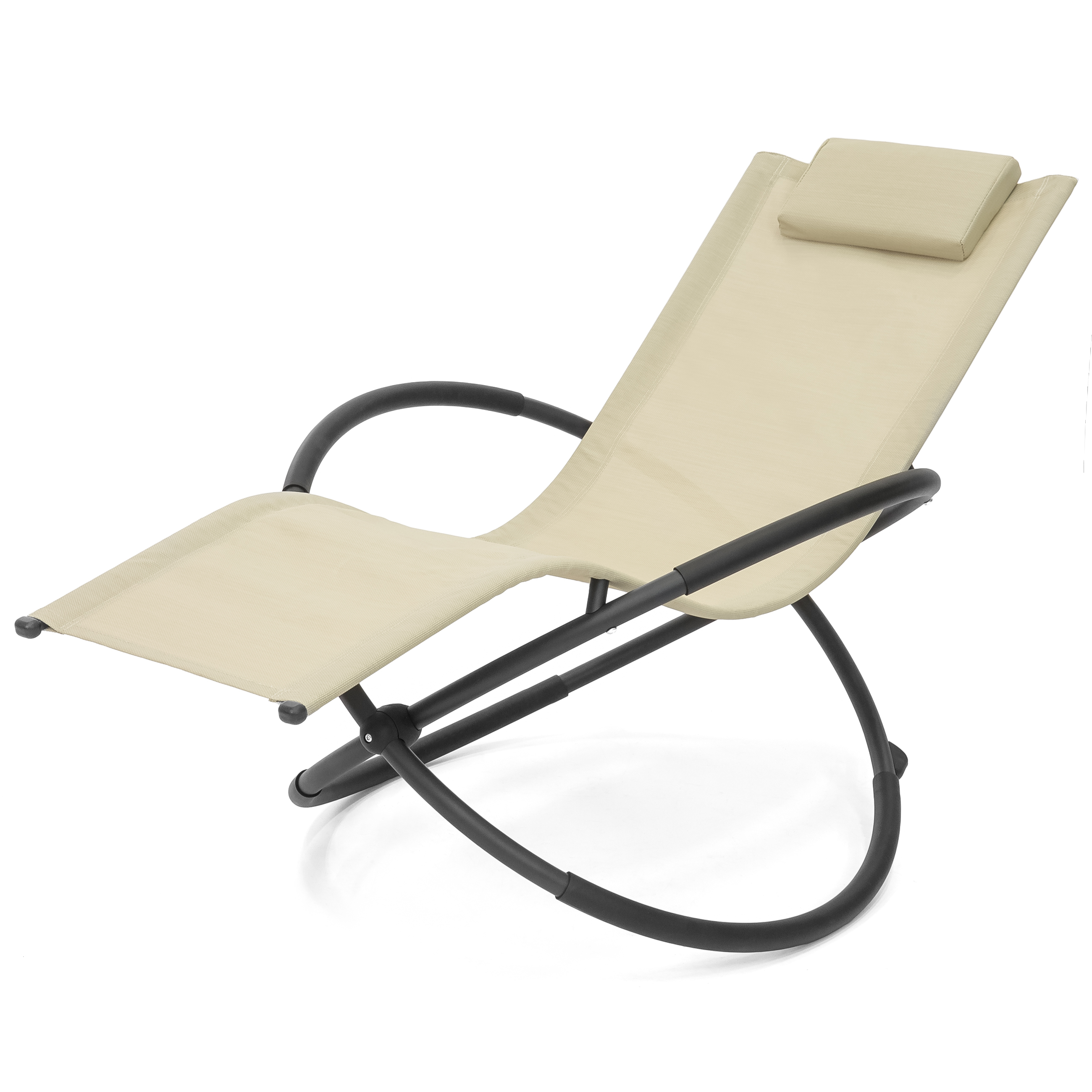 Best Choice Products Folding Orbital Zero Gravity Lounge Chair W/ Removable Pillow (beige) Inside Famous Orbital Patio Lounger Rocking Chairs (Gallery 23 of 25)