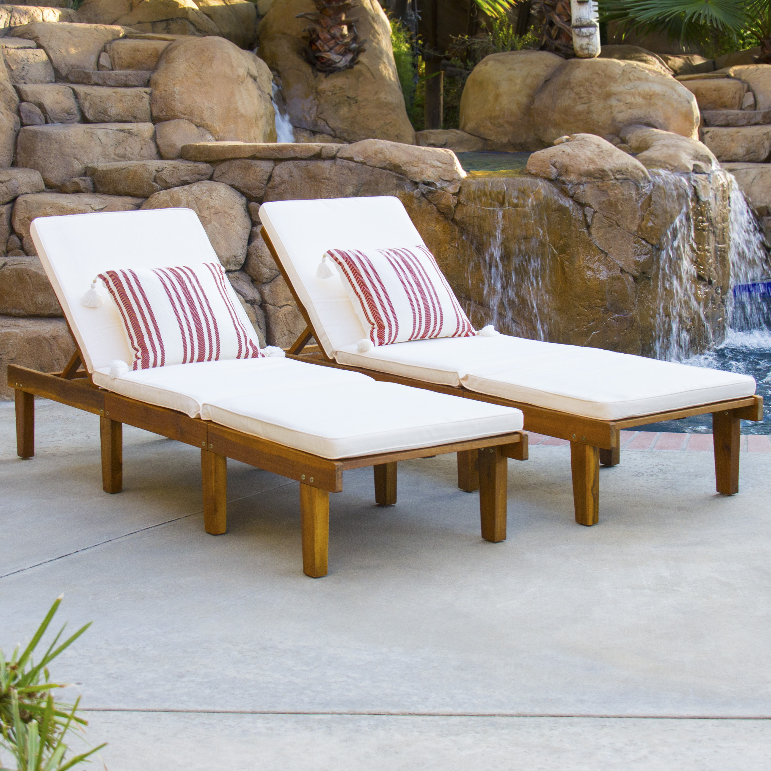 Best Choice Products Outdoor Patio Poolside Furniture Set Of 2 Acacia Wood Chaise Lounge Pertaining To Newest Outdoor 3 Piece Acacia Wood Chaise Lounge Sets (Gallery 12 of 25)