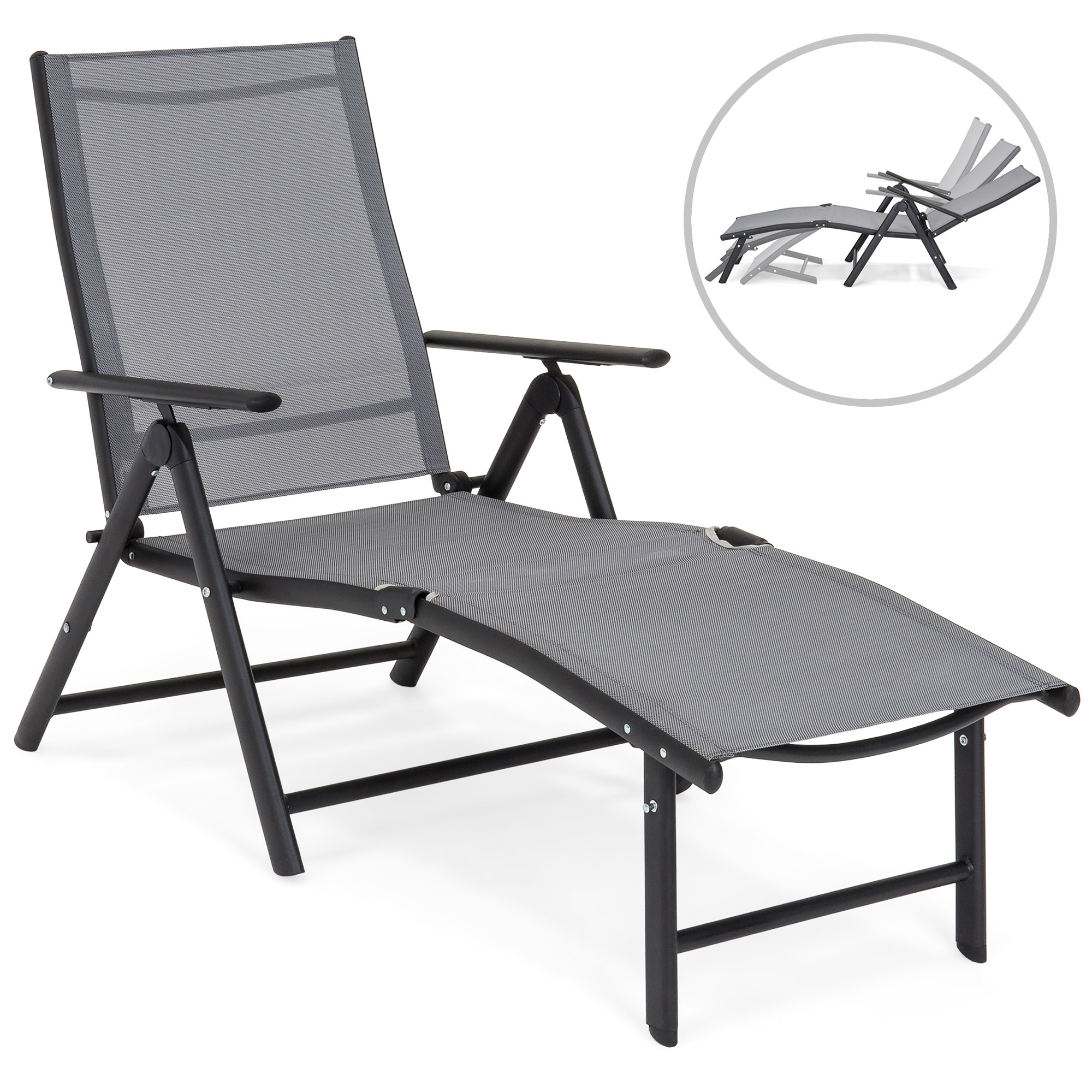 Best Choice Products Reclining Folding Chaise Lounge Chair For Outdoor, Patio, Poolside W/ Armrests, Adjustable Foot Rest – Gray For Trendy Reclining Sling Chaise Lounges (Gallery 10 of 25)