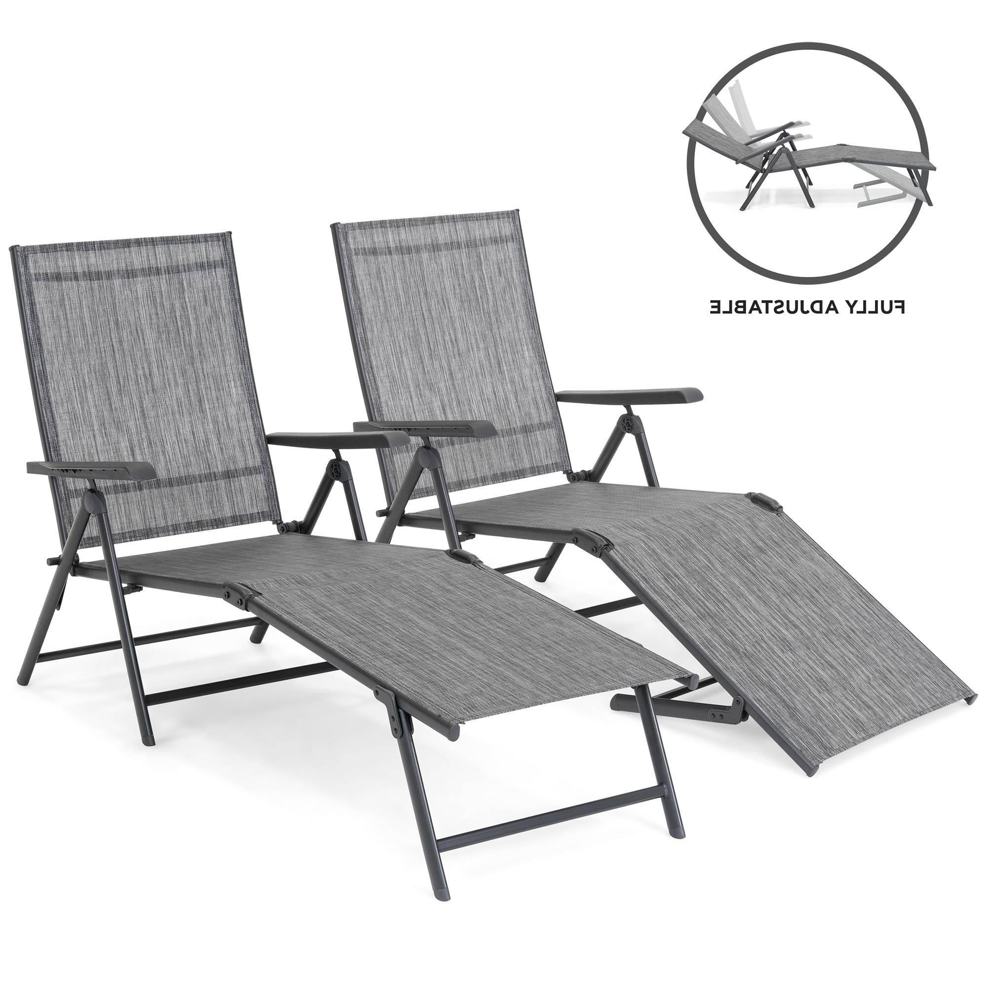 Best Choice Products Set Of 2 Outdoor Adjustable Folding Chaise Reclining Lounge Chairs For Patio, Poolside, Deck W/ Rust Resistant Steel Frame, In Popular Outdoor Cart Wheel Adjustable Chaise Lounge Chairs (Gallery 11 of 25)