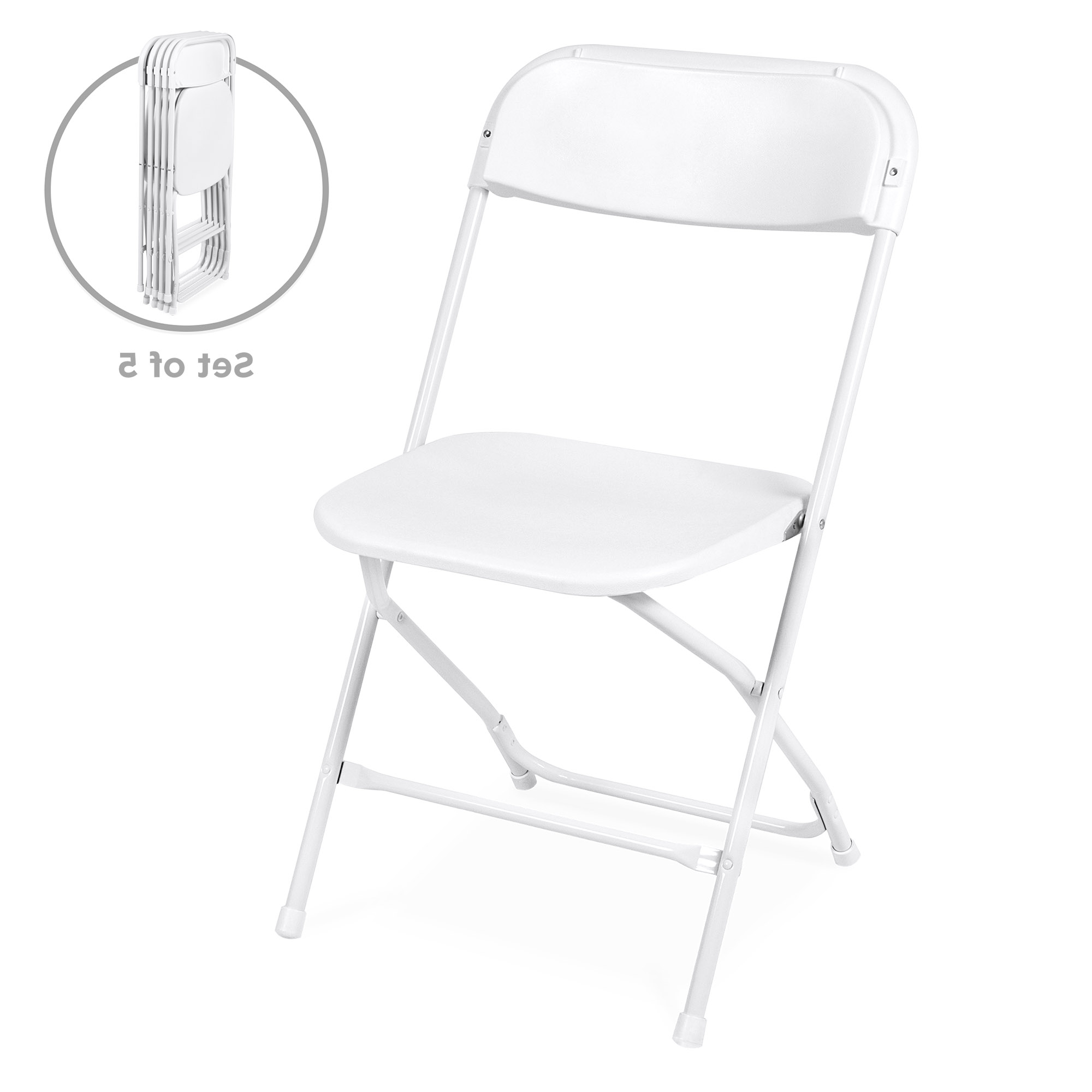 Best Choice Products Set Of 5 Indoor Outdoor Portable Stackable Lightweight Plastic Folding Chairs For Events, Parties – White Throughout 2020 Iron Frame Locking Portable Folding Chairs (Gallery 3 of 25)