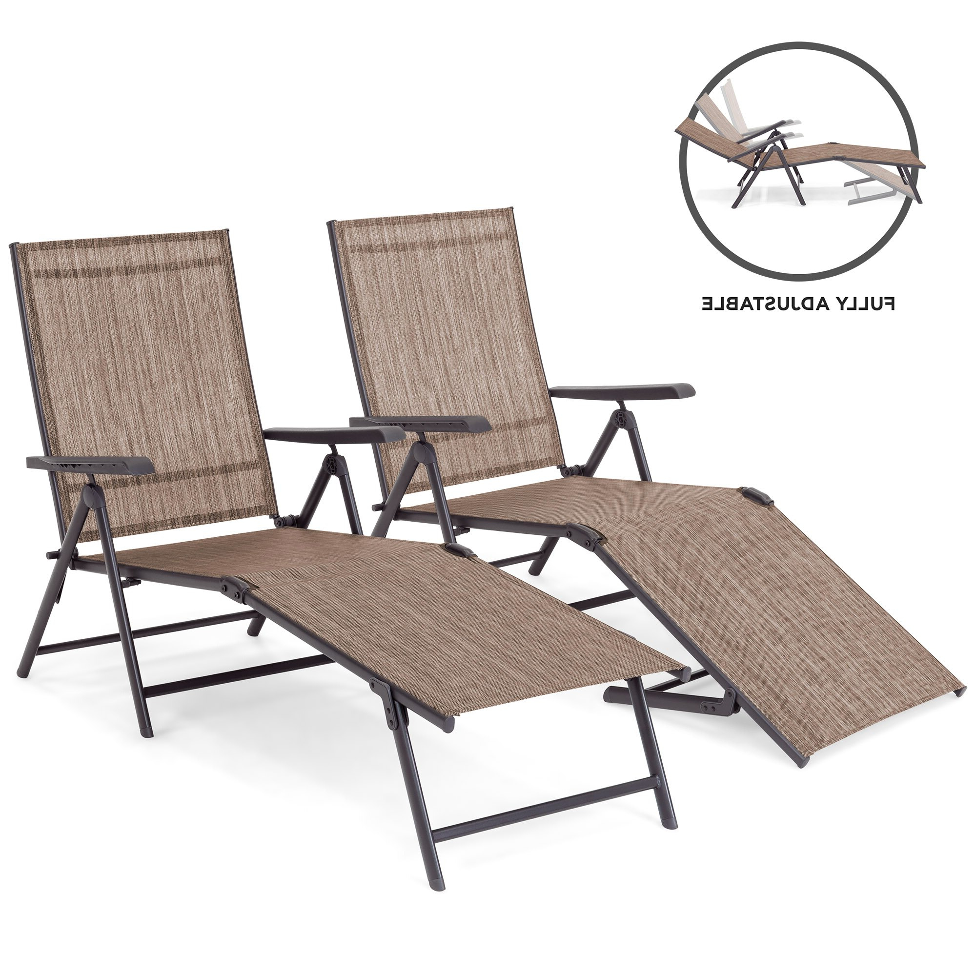 Bestchoiceproducts: Best Choice Products Set Of 2 Outdoor Adjustable  Folding Chaise Lounge Recliner Chairs For Patio, Poolside, Deck – Brown (View 2 of 25)