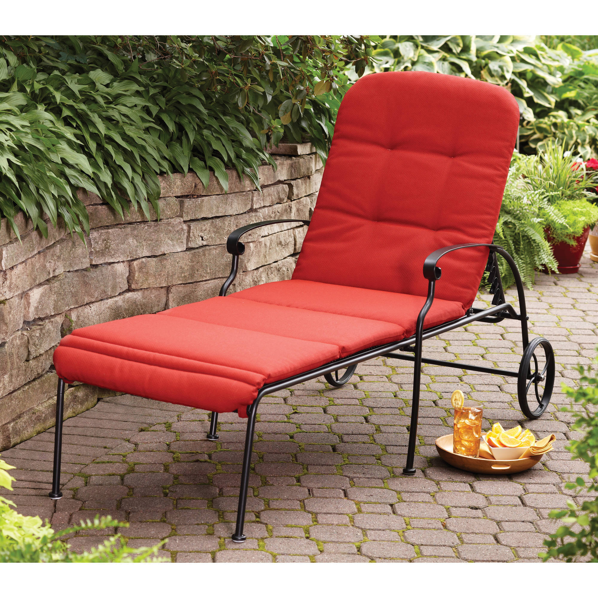 Better Homes & Gardens Clayton Court Chaise Lounge With Wheels, Red Inside Most Recent Outdoor Cart Wheel Adjustable Chaise Lounge Chairs (View 23 of 25)