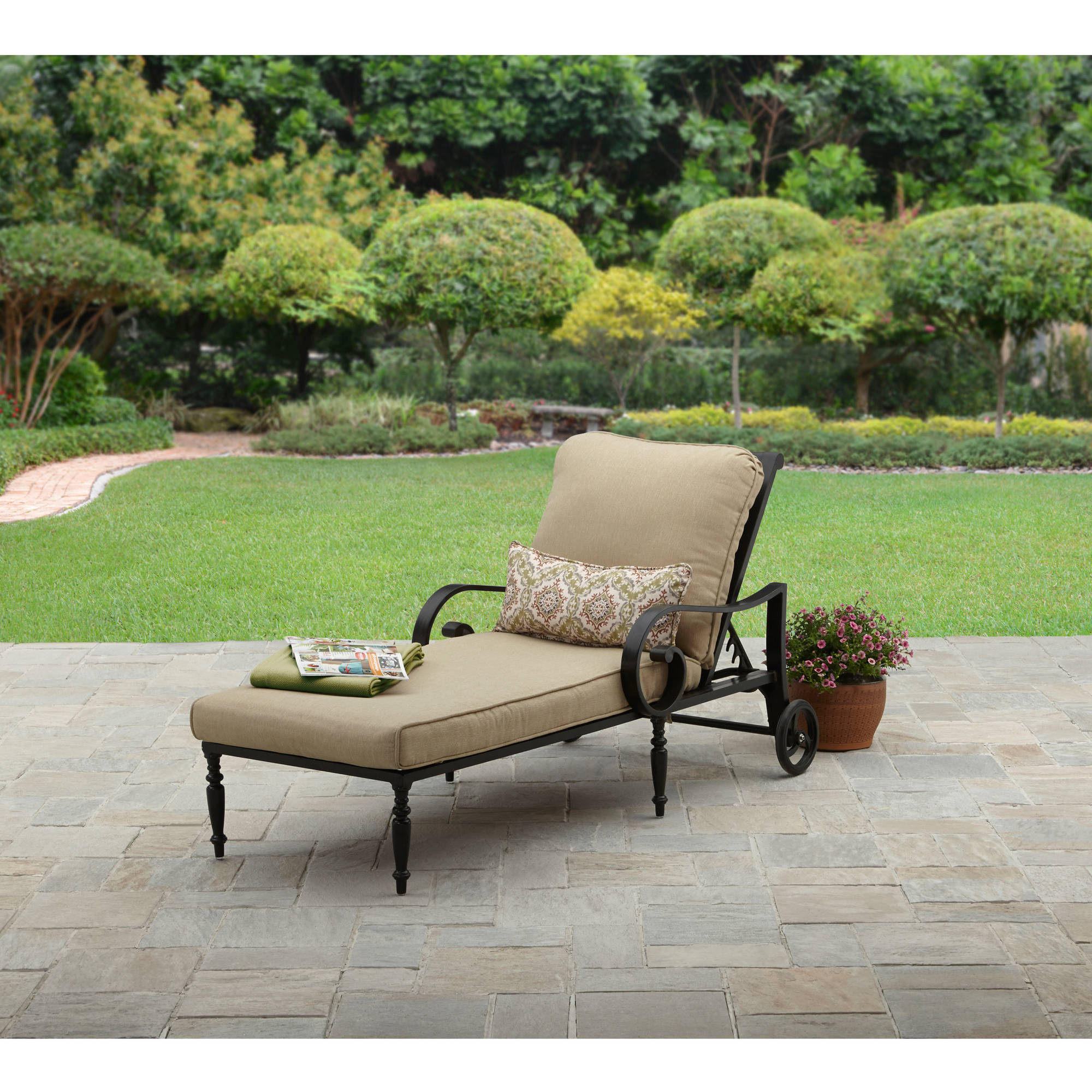 Better Homes & Gardens Englewood Heights Ii Aluminum Outdoor Chaise Lounge – Walmart Throughout Favorite Outdoor Aluminum Chaise Lounges (Gallery 10 of 25)