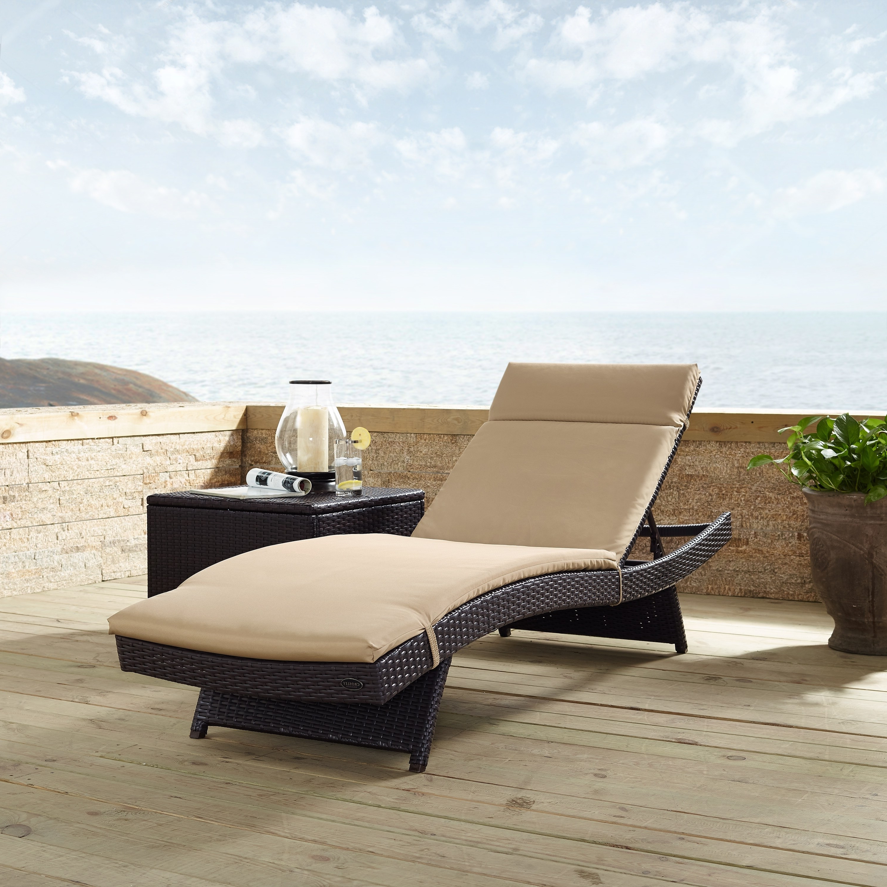 Biscayne Chaise Lounge With Mocha Cushion, Brown, Crosley Regarding Newest Outdoor Rustic Acacia Wood Chaise Lounges With Wicker Seats (View 4 of 25)