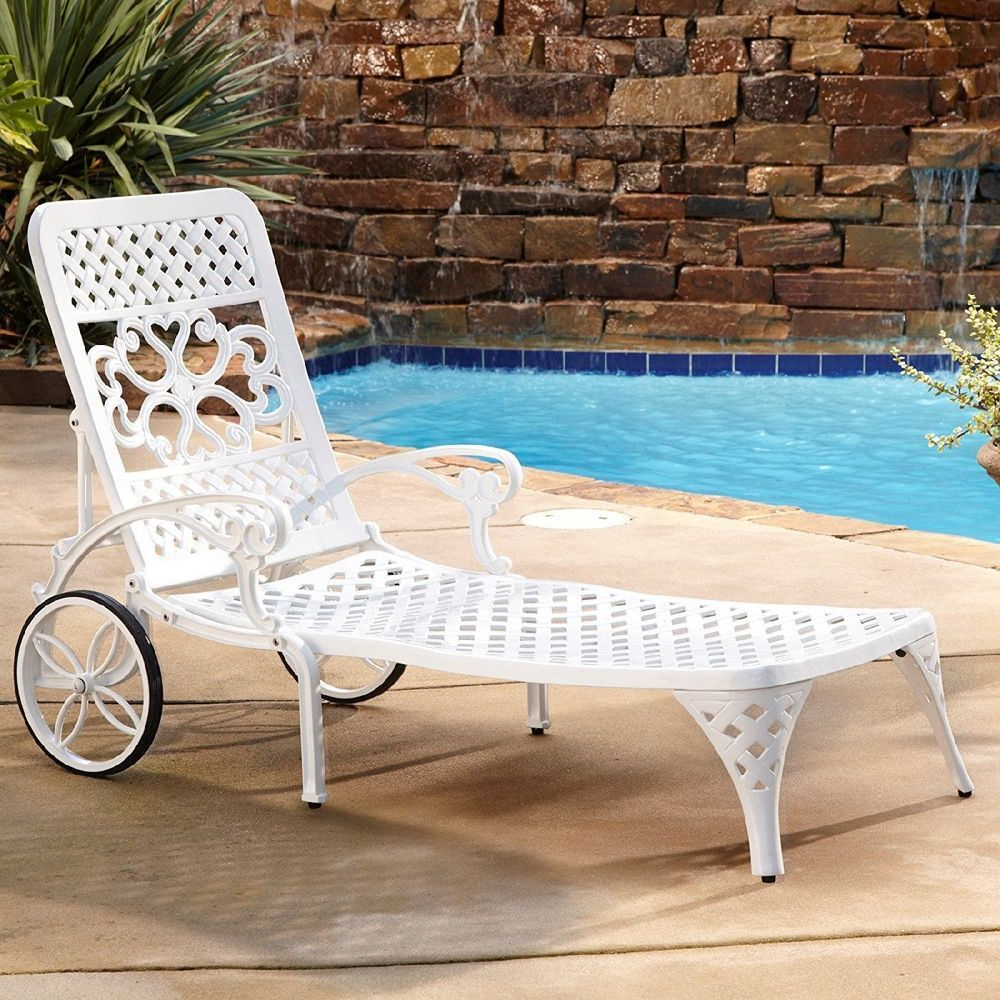 Biscayne White Chaise Lounge Chairs Regarding Most Recently Released Outdoor Chaise Lounge Chair Recliner Retro Metal Pool Deck (View 11 of 25)