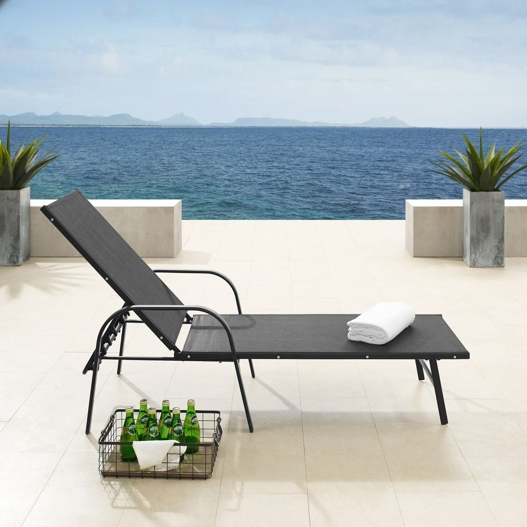 Black Sling Fabric Adjustable Chaise Lounges Throughout Latest Corvus Antonio Outdoor Black Sling Fabric Adjustable Chaise Lounge (View 7 of 25)