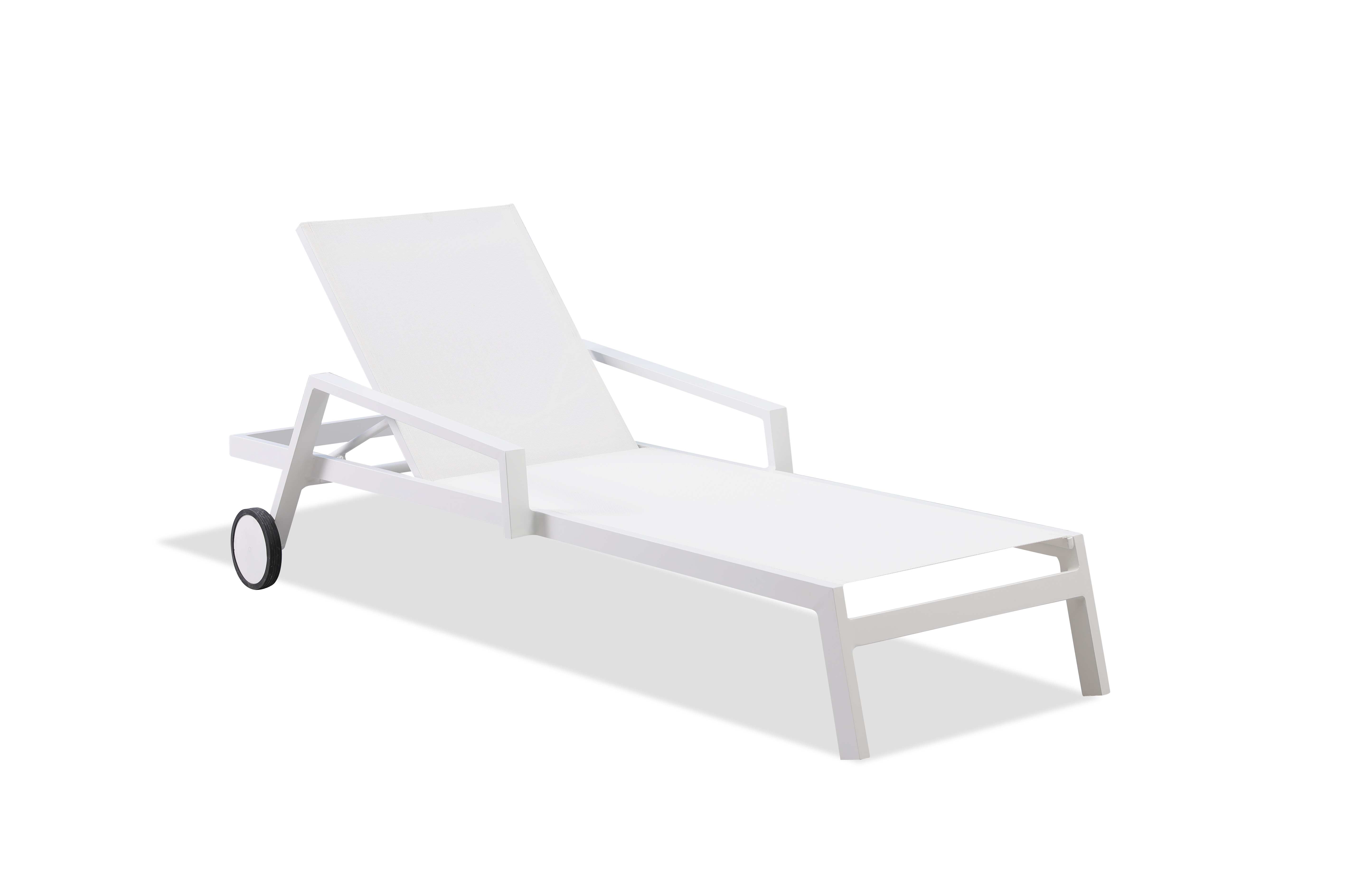 Bondi Outdoor Chaise Lounge White Two Wheels (View 13 of 25)