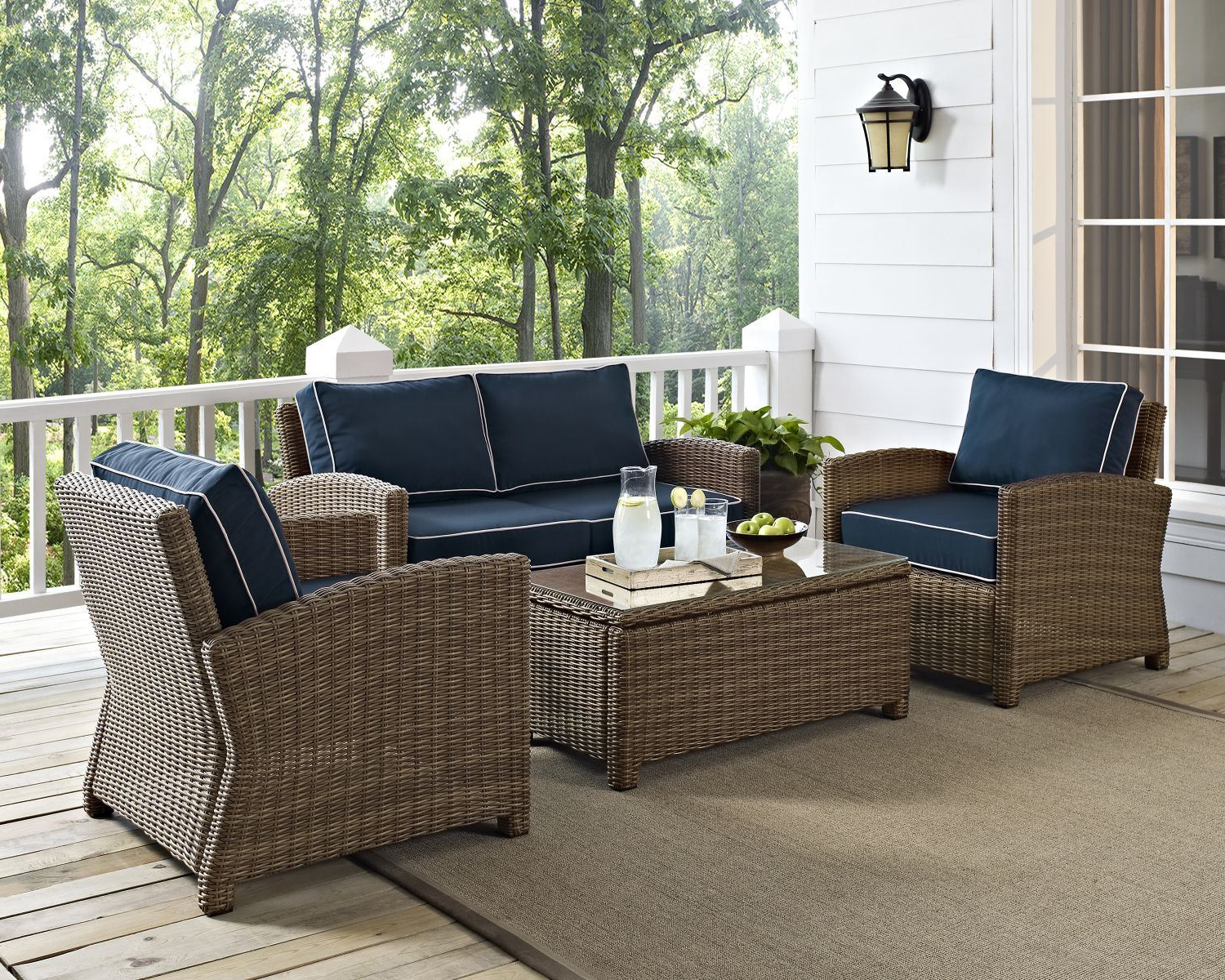 Bradenton 4 Piece Outdoor Wicker Seating Set/navy Cushions Throughout Most Current Bradenton Outdoor Wicker Chaise Lounges With Cushions (View 10 of 25)
