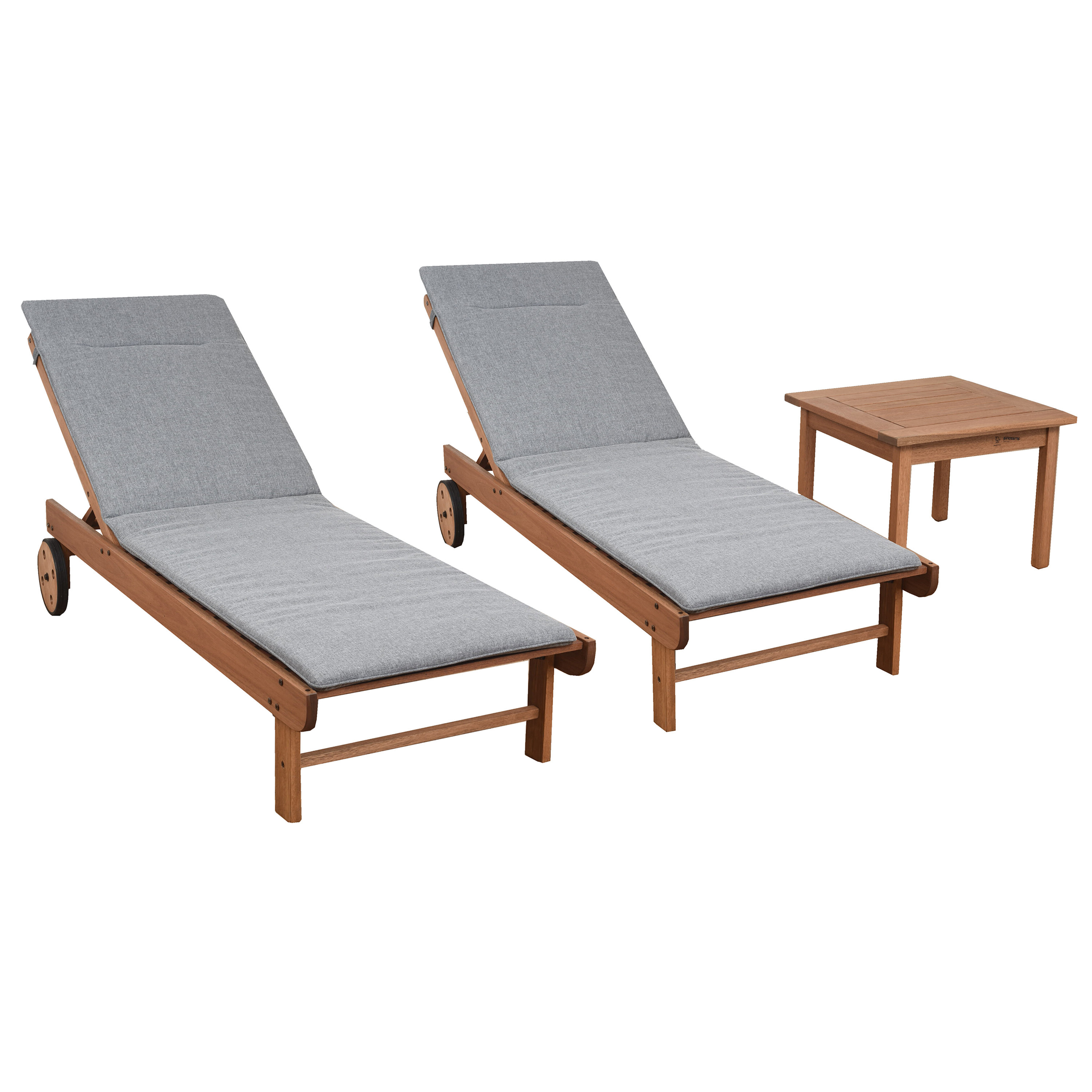 Brighton Gray Cushion Patio 3 Piece Single Reclining Chaise Lounge Set With Table For Widely Used Outdoor 3 Piece Acacia Wood Chaise Lounge Sets (View 6 of 25)