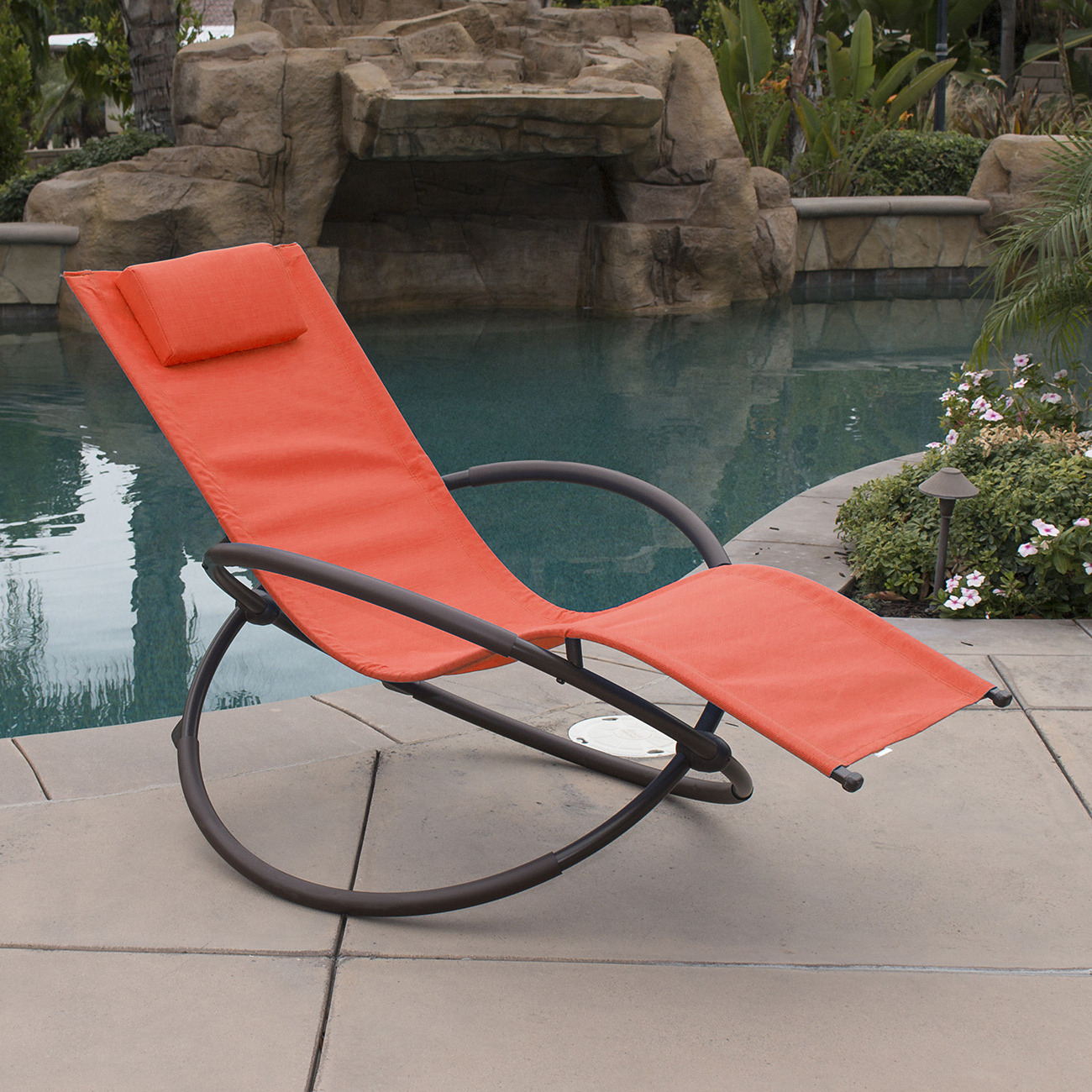 Brown Folding Patio Chaise Lounger Chairs Throughout Fashionable Ghp Brown Steel Frame Orange Orbital Zero Gravity Chaise Lounger Recliner  Chair (View 7 of 25)