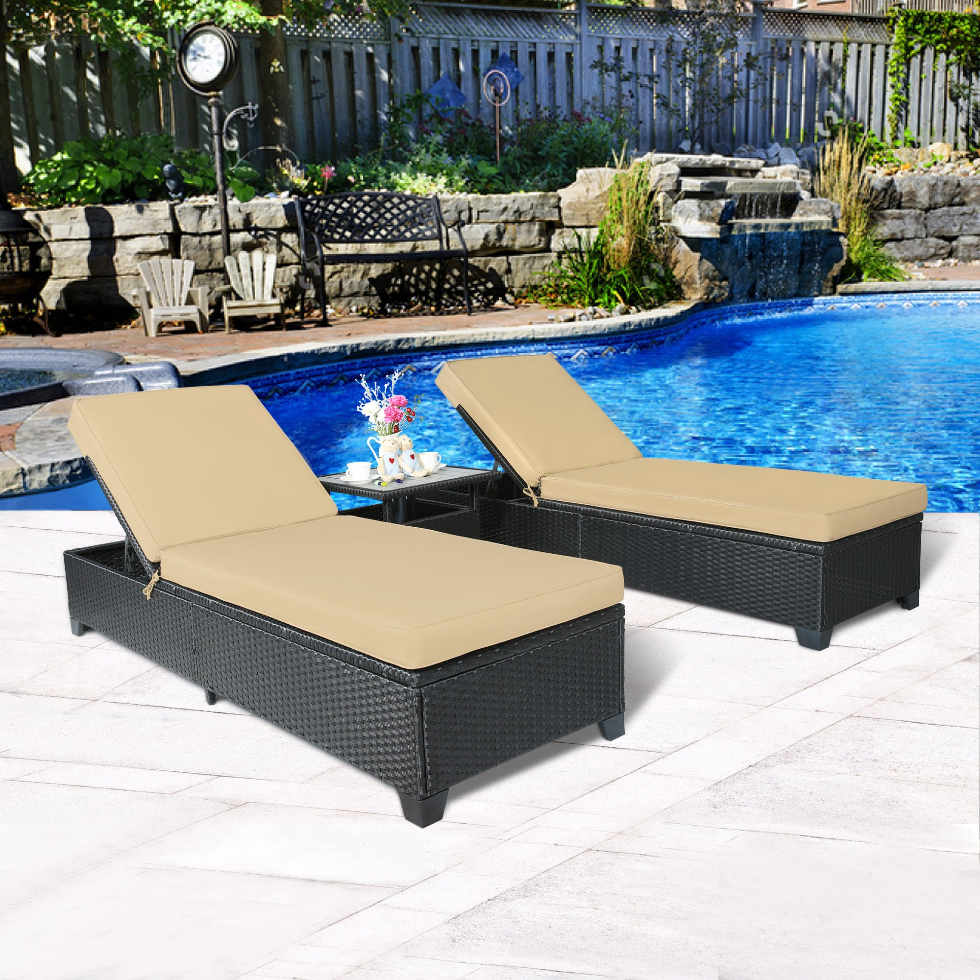 Buy Cloud Mountain 3pc Outdoor Rattan Chaise Lounge Chair Inside Most Popular Outdoor Adjustable Rattan Wicker Chaise Pool Chairs With Cushions (Gallery 11 of 25)