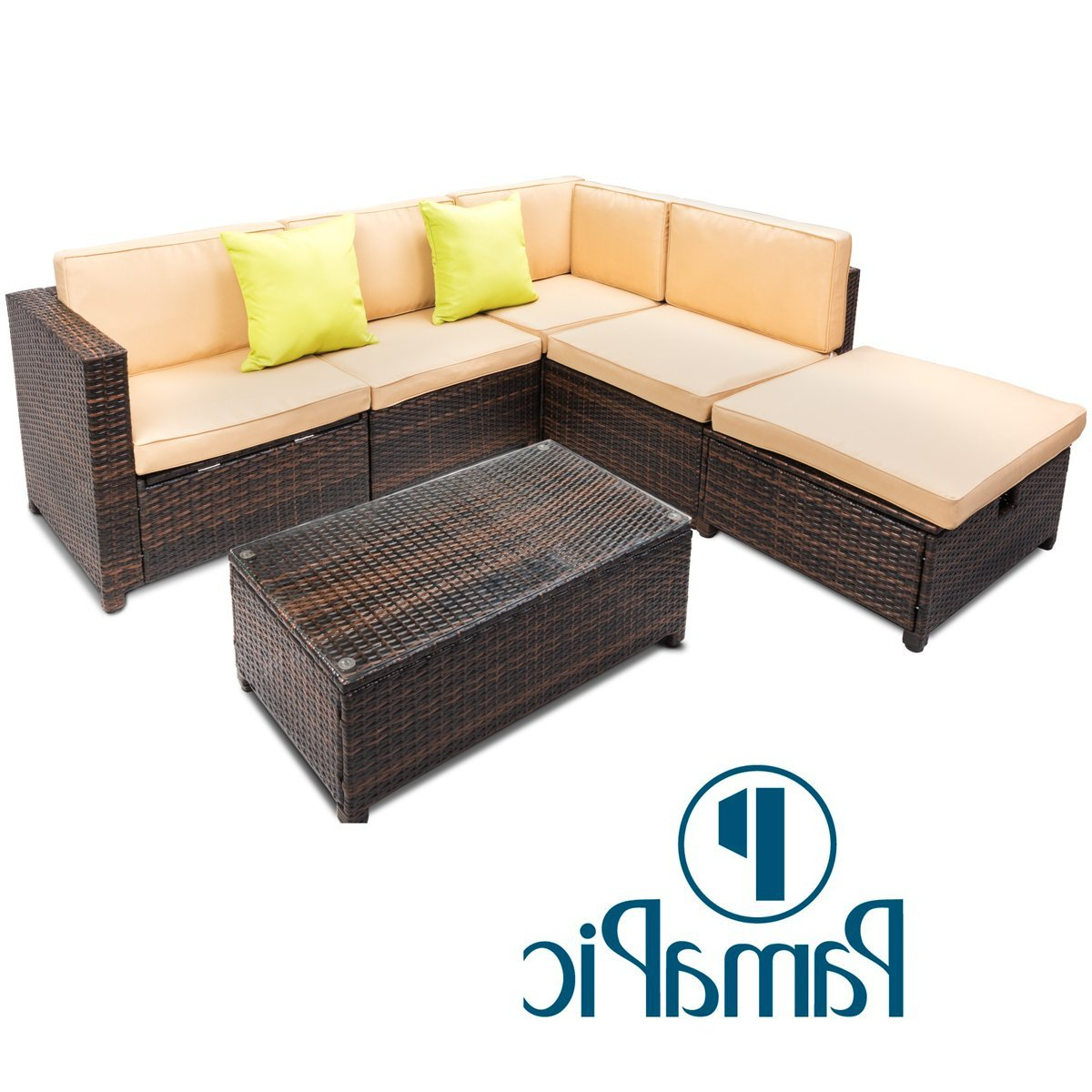 Buy Pamapic 6Pcs Outdoor Patio Furniture Set 【Adjustable Within Famous Outdoor Adjustable Rattan Wicker Recliner Chairs With Cushion (View 20 of 25)