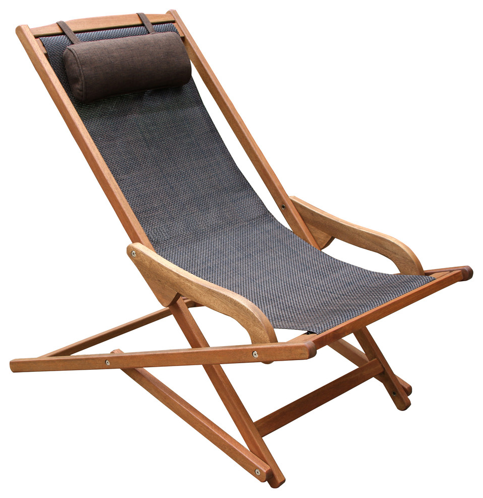 Byron Sling And Eucalyptus Lounge Chair With Brown Pillow Within Popular Eucalyptus Teak Finish Outdoor Chaise Loungers With Cushion (View 23 of 25)