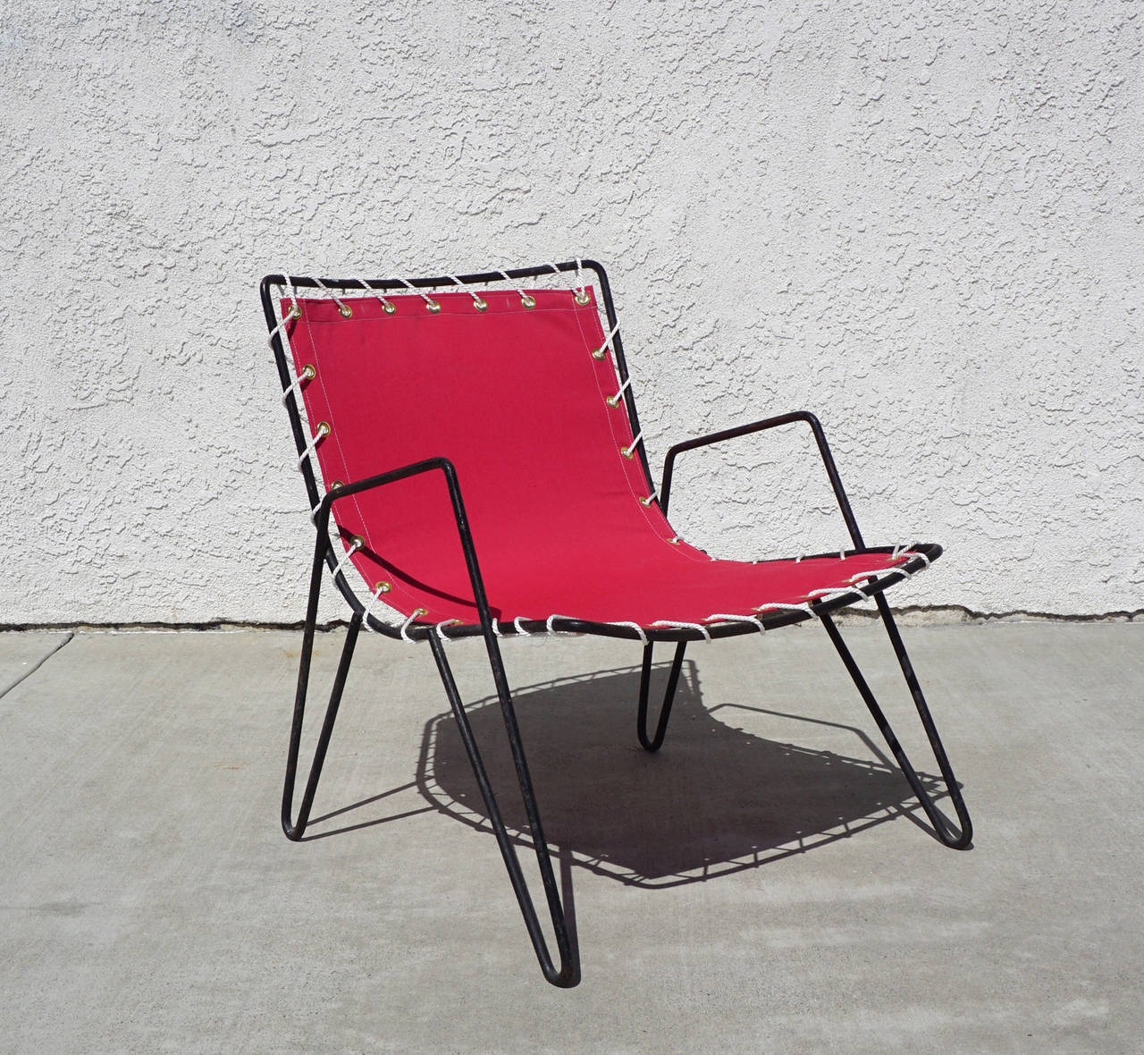 Canvas Patio Sling Chairs With Regard To Most Current 1950s Iron And Canvas Outdoor Sling Chairs At 1stdibs (View 25 of 25)