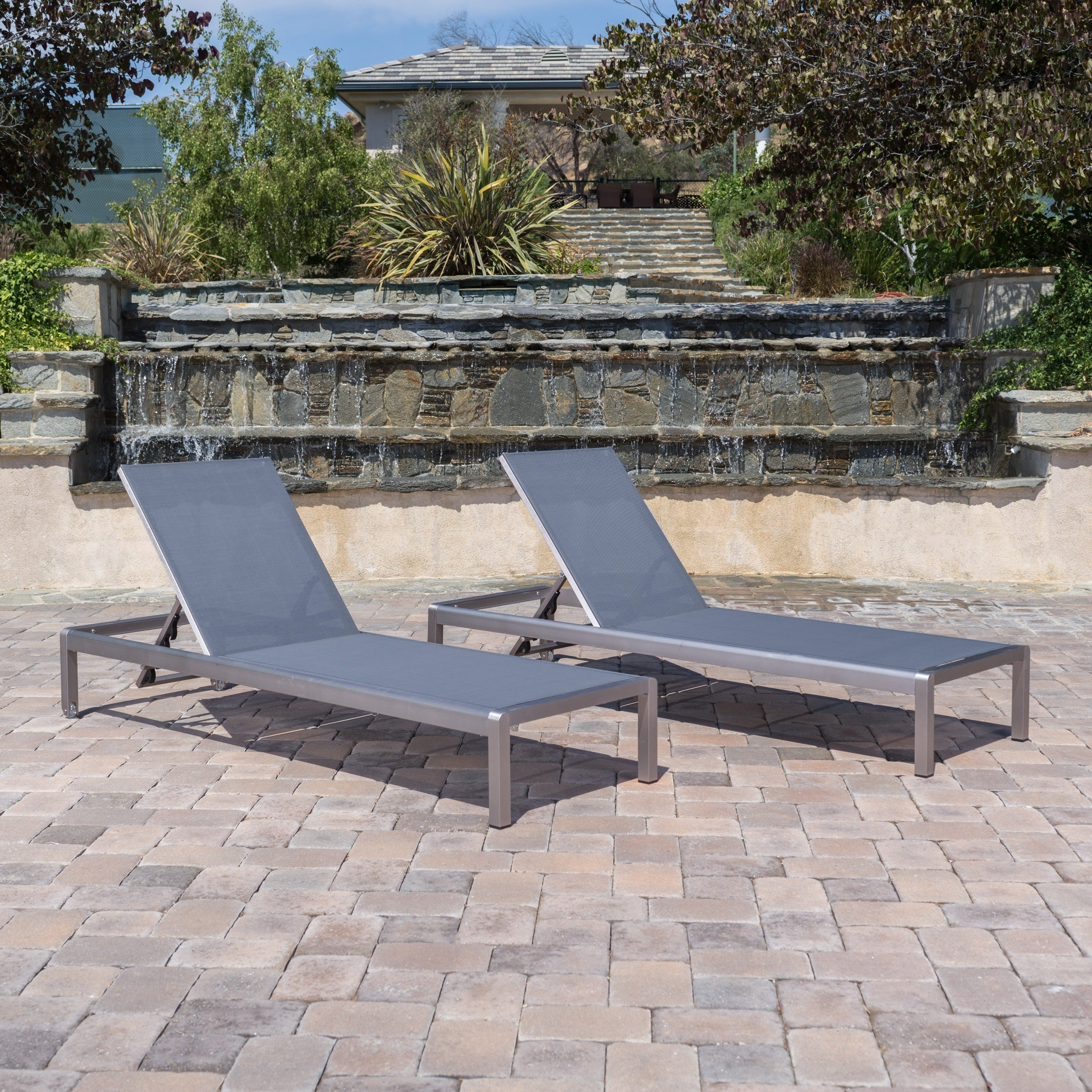 Cape Coral Outdoor Aluminum Adjustable Chaise Lounge (set Of 2) Christopher Knight Home For Most Popular Cape Coral Outdoor Aluminum Chaise Lounges (View 8 of 25)