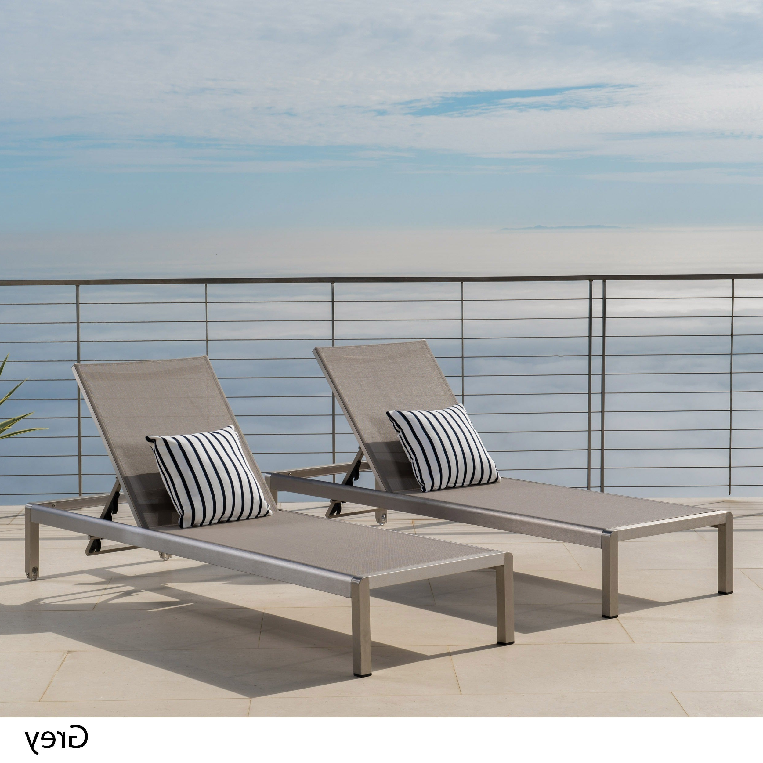 Cape Coral Outdoor Aluminum Adjustable Chaise Lounge (set Of 2) Christopher Knight Home Pertaining To 2020 Cape Coral Outdoor Aluminum Chaise Lounges (View 3 of 25)