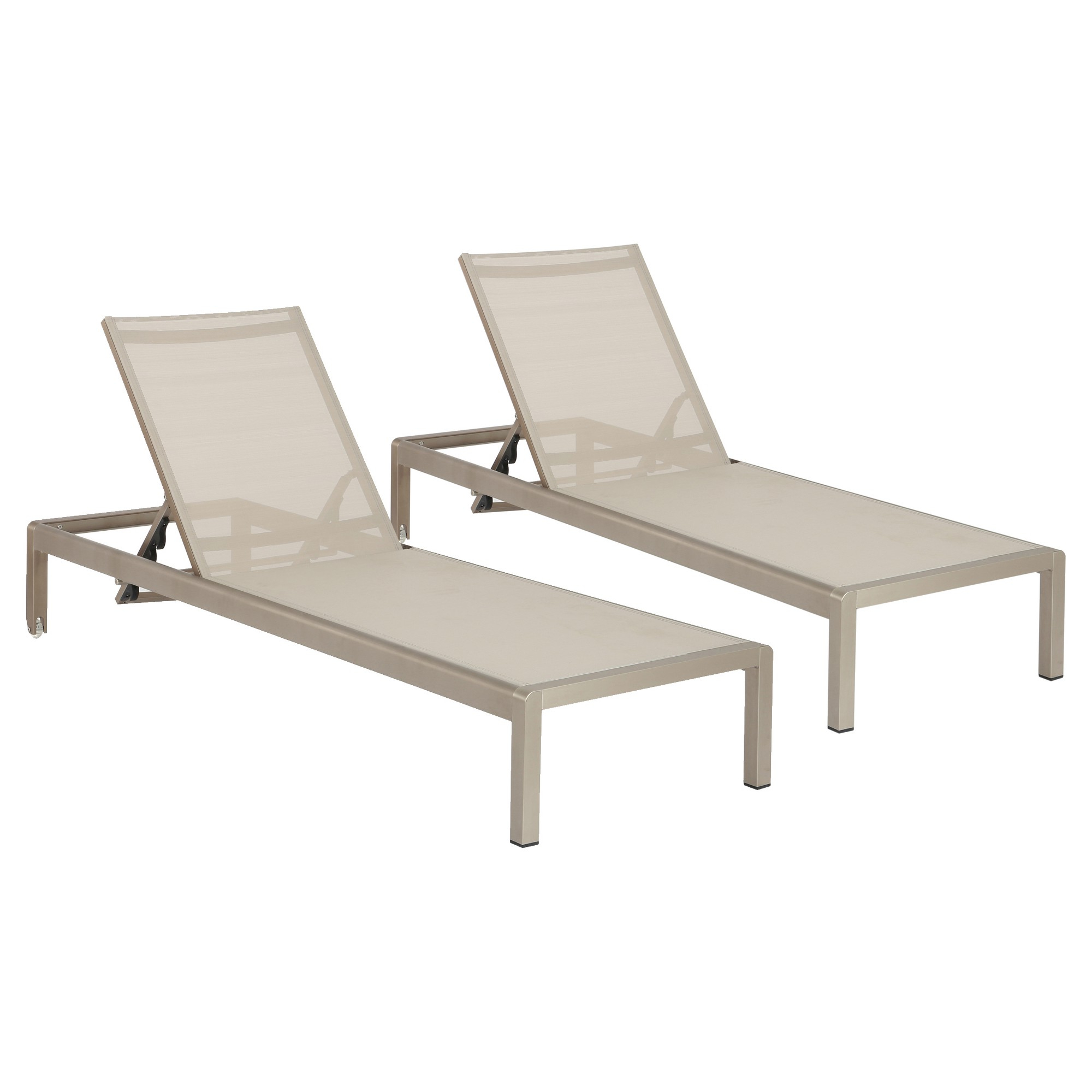 Cape Coral Outdoor Aluminum Chaise Lounges Throughout Best And Newest Cape Coral Set Of 2 Outdoor Mesh Chaise Lounges – Gray (View 15 of 25)