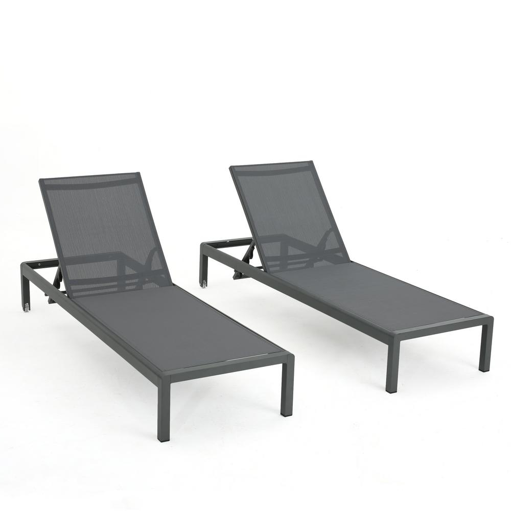 Cape Coral Outdoor Aluminum Chaise Lounges With Regard To Famous Noble House Cape Coral Dark Grey 2 Piece Metal Adjustable Outdoor Chaise Lounge (View 6 of 25)