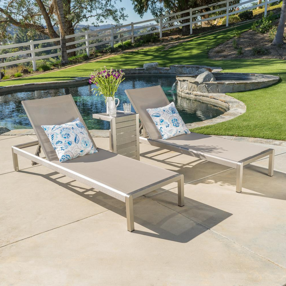 Cape Coral Outdoor Chaise Lounges With Cushion Intended For Famous Noble House Cape Coral Silver 3 Piece Metal Outdoor Chaise Lounge (View 21 of 25)