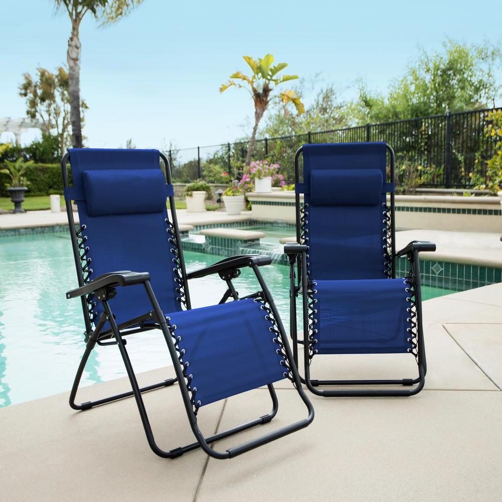 Caravan Sports Caravan Blue Metal Infinity Zero Gravity Patio Chair (2 Pack) Intended For 2019 Caravan Sports Grey Infinity Chairs (View 4 of 25)