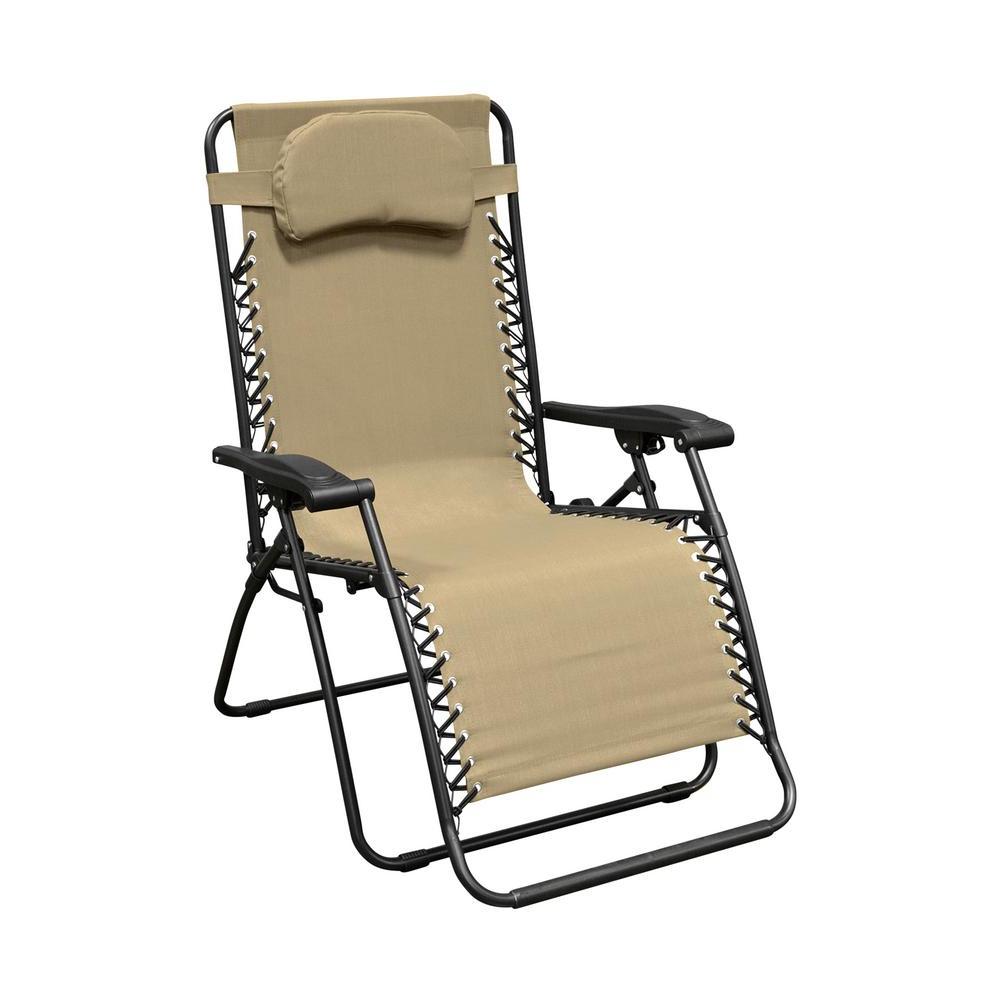 Caravan Sports Infinity Oversized Beige Metal Zero Gravity Patio Chair Regarding Popular Caravan Sports Grey Infinity Chairs (View 11 of 25)