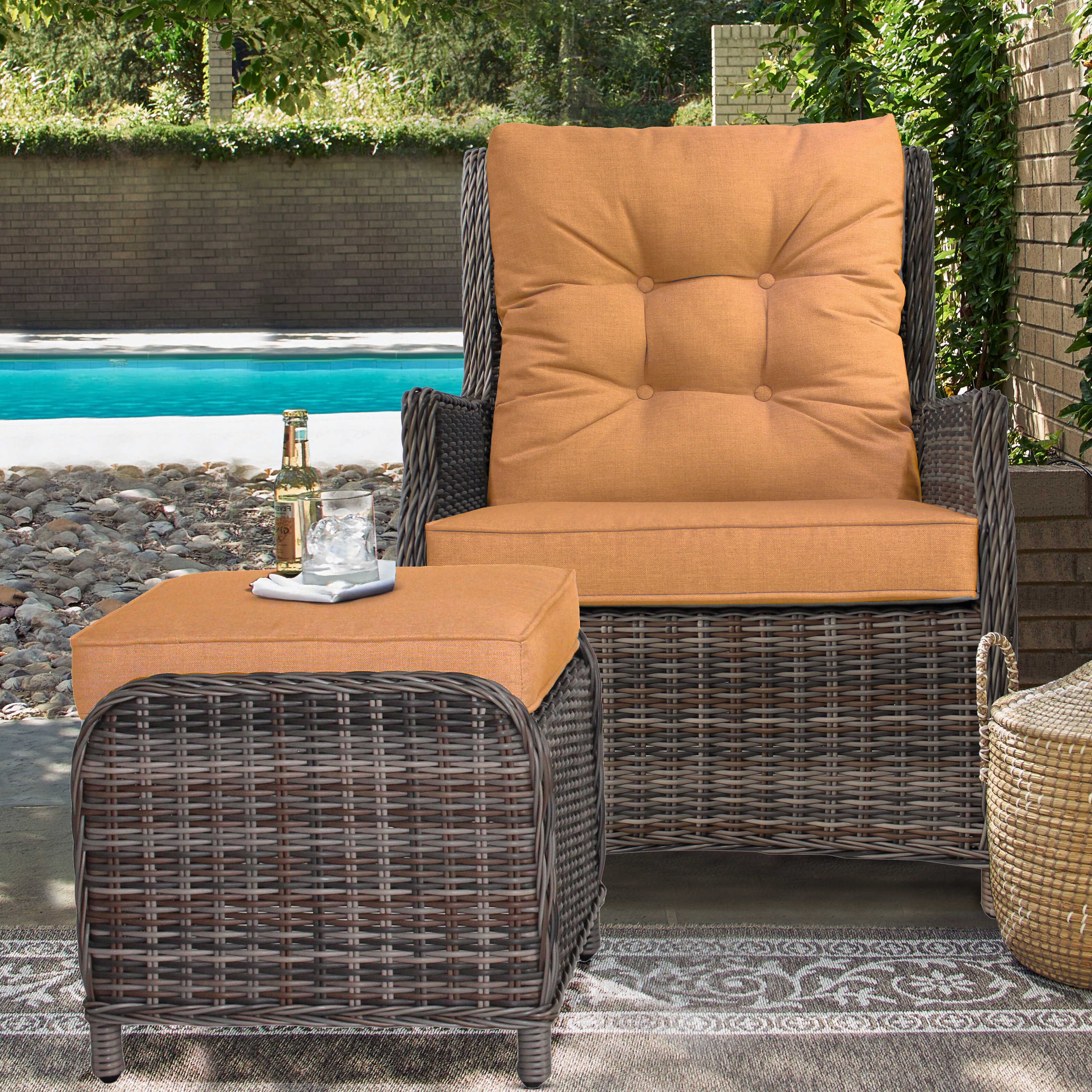 Cardoza Outdoor Recliner Patio Chair With Cushions And Ottoman For Latest Outdoor Adjustable Rattan Wicker Recliner Chairs With Cushion (View 5 of 25)