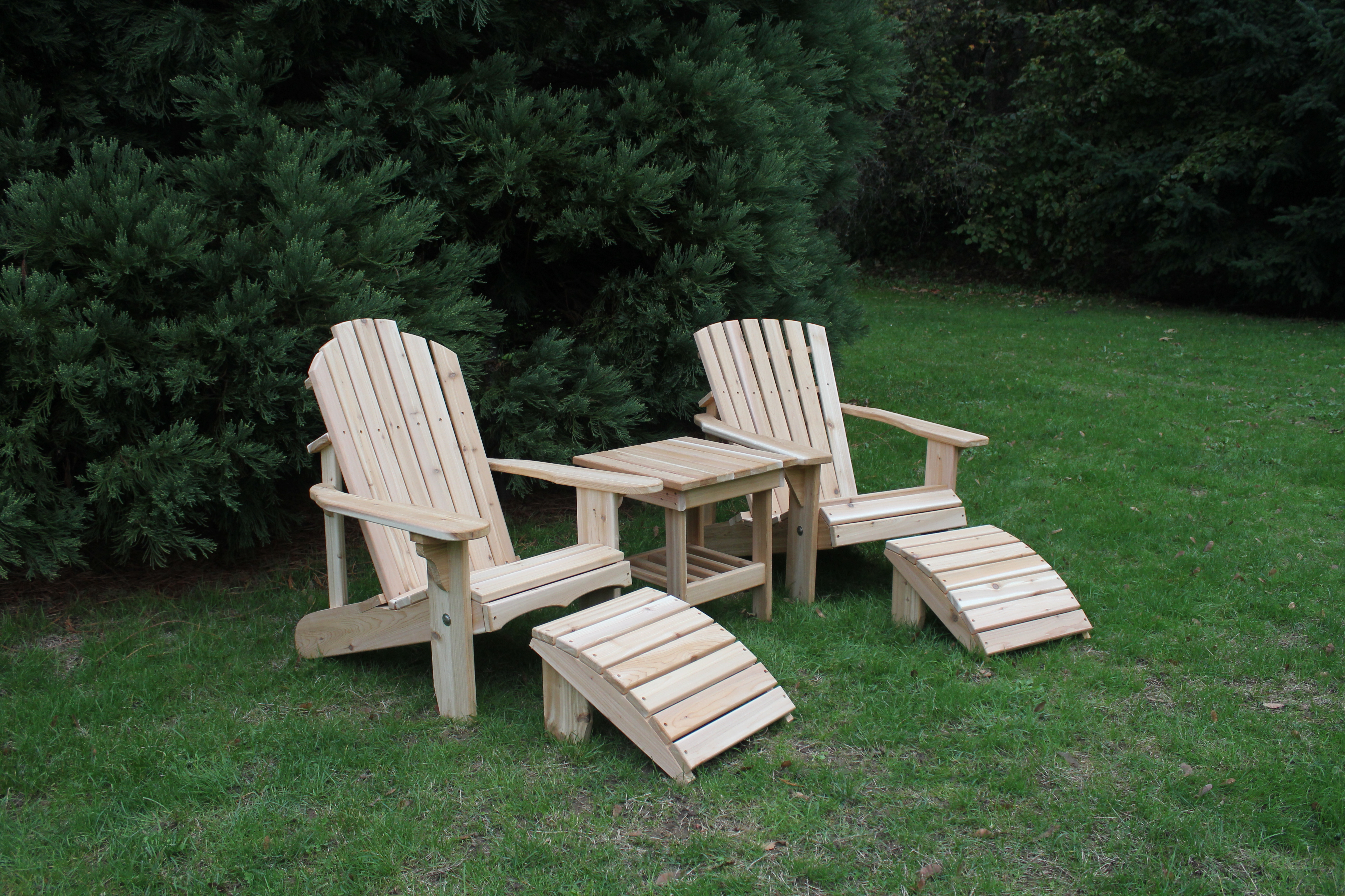 Cedar Footrest Within Famous Adirondack Chairs With Footrest (View 12 of 25)