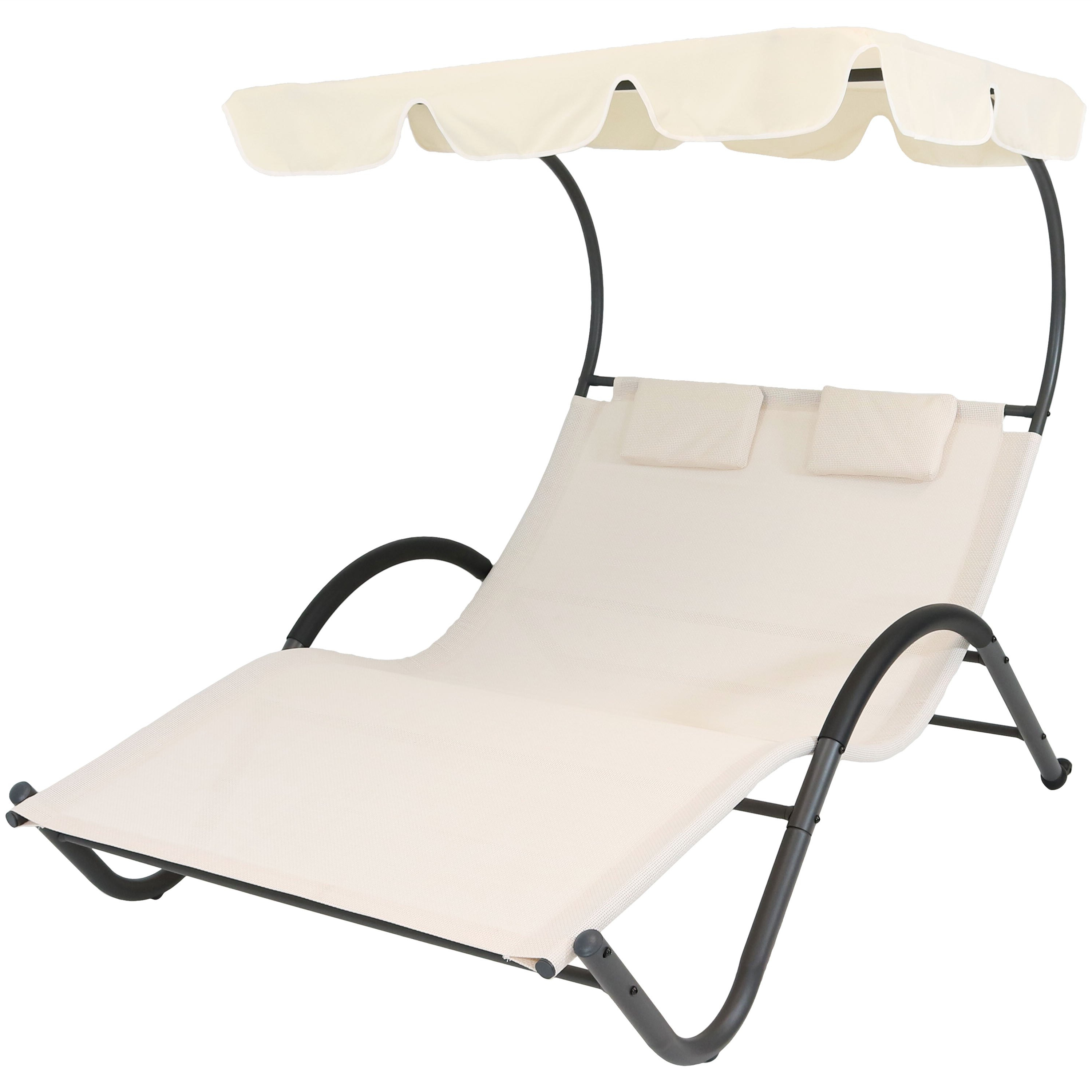 Chaise Lounge Chairs In Bronze With Mist Cushions Inside Latest Sunnydaze Outdoor Double Chaise Lounge With Canopy Shade And Headrest Pillows, Portable Patio Sun Lounger, Beige (View 25 of 25)