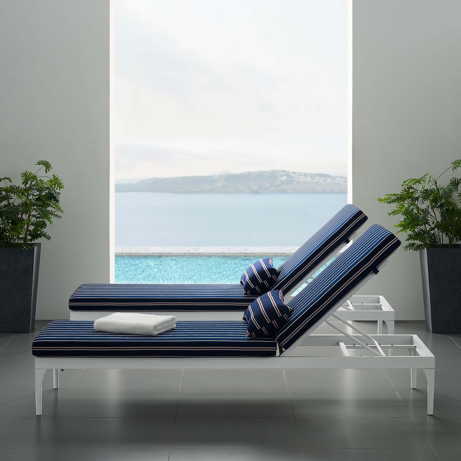 Chaise Lounge Chairs In White With Navy Cushions In 2019 Perspective Cushion Outdoor Patio Chaise Lounge Chair In White Navy (View 23 of 25)